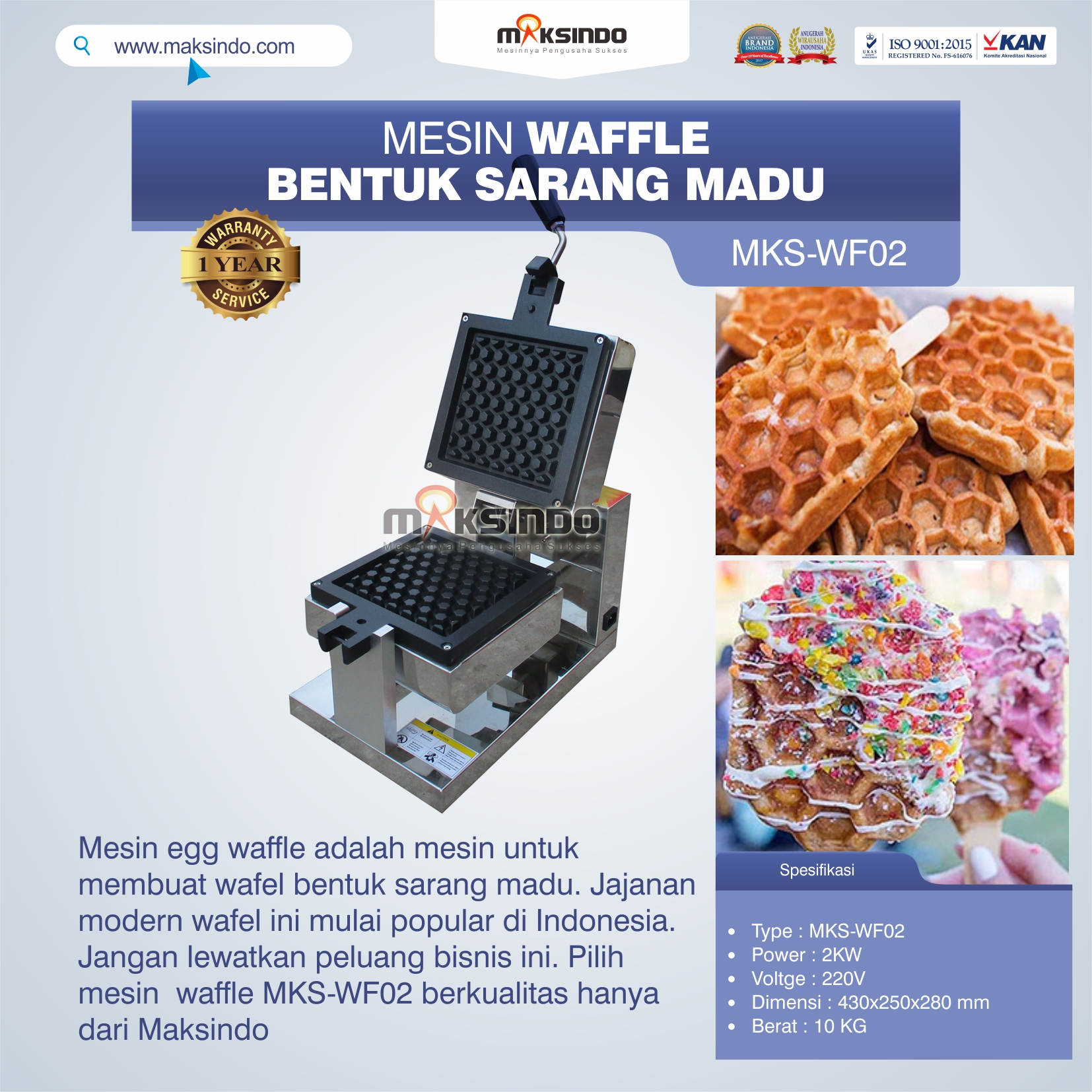 Jual Mesin Waffle Bentuk Sarang Madu MKS-WF02 di Tangerang