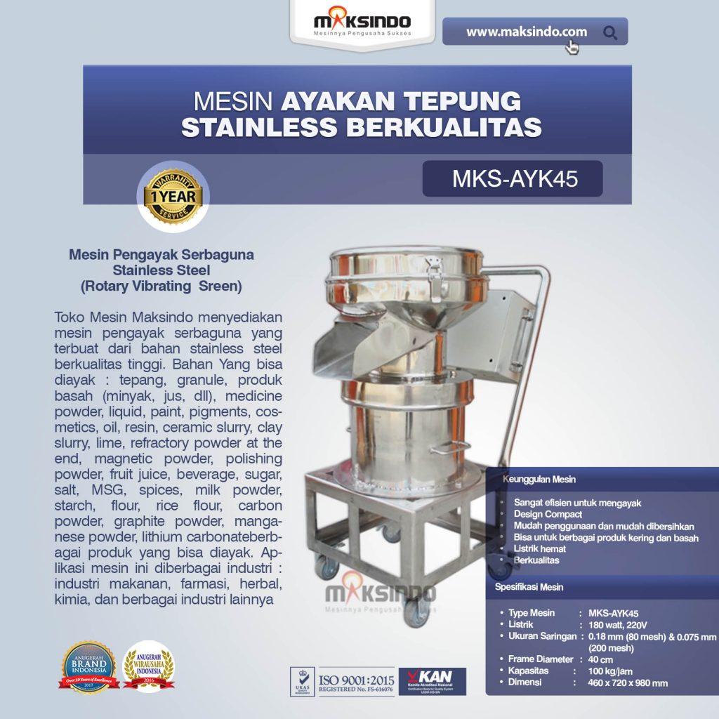 Mesin Ayakan Tepung Stainless Berkualitas MKS-AYK45