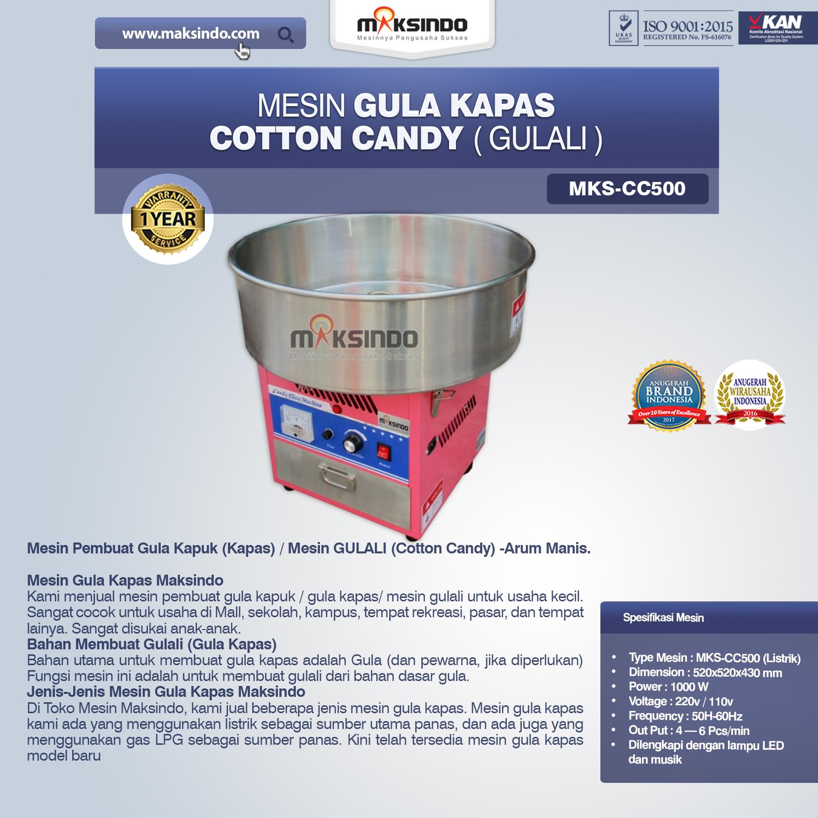 Mesin Gula Kapas Cotton Candy Gulali MKS-CC500 Listrik