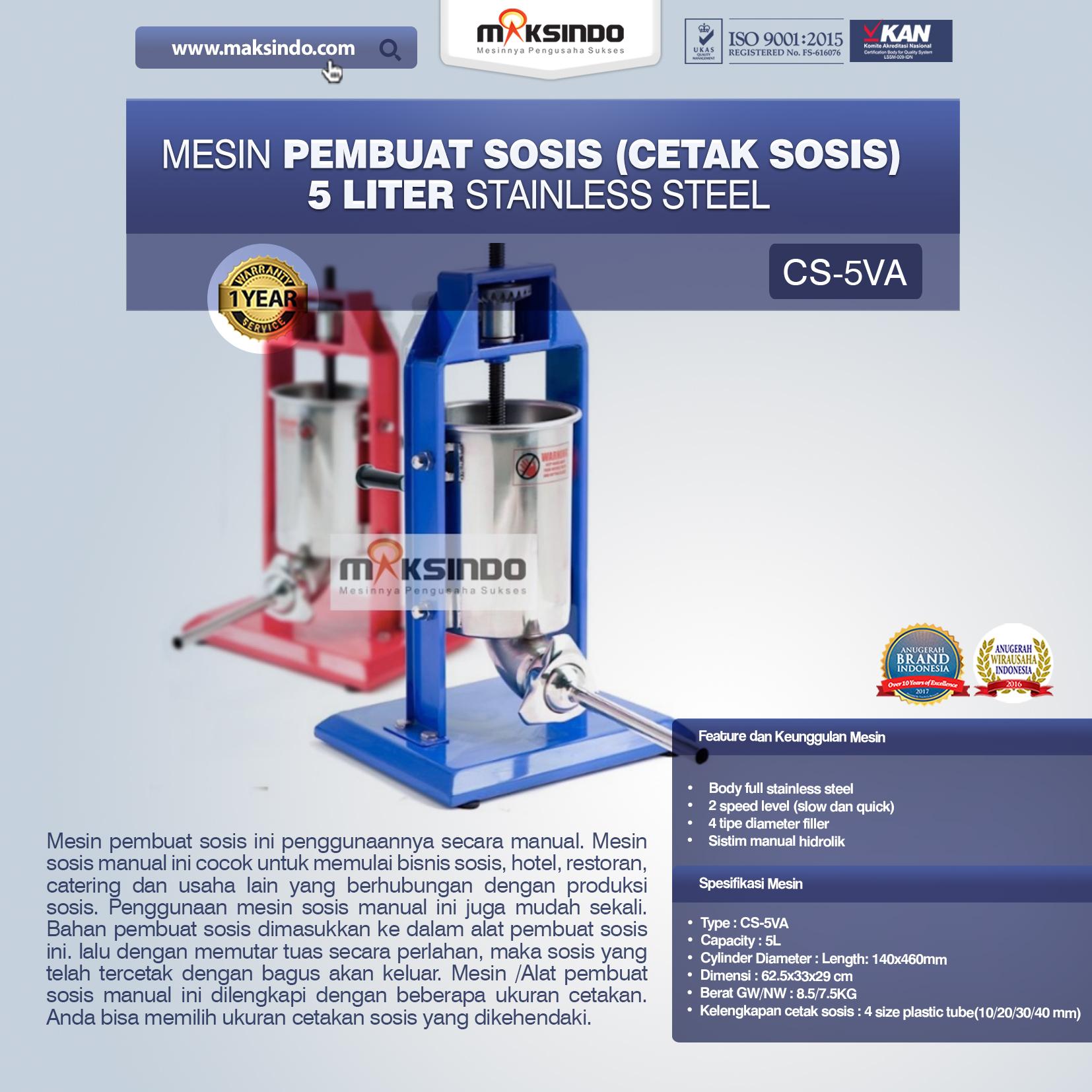 Mesin Pembuat Sosis (Cetak Sosis) Stainless Steel CS-5VA