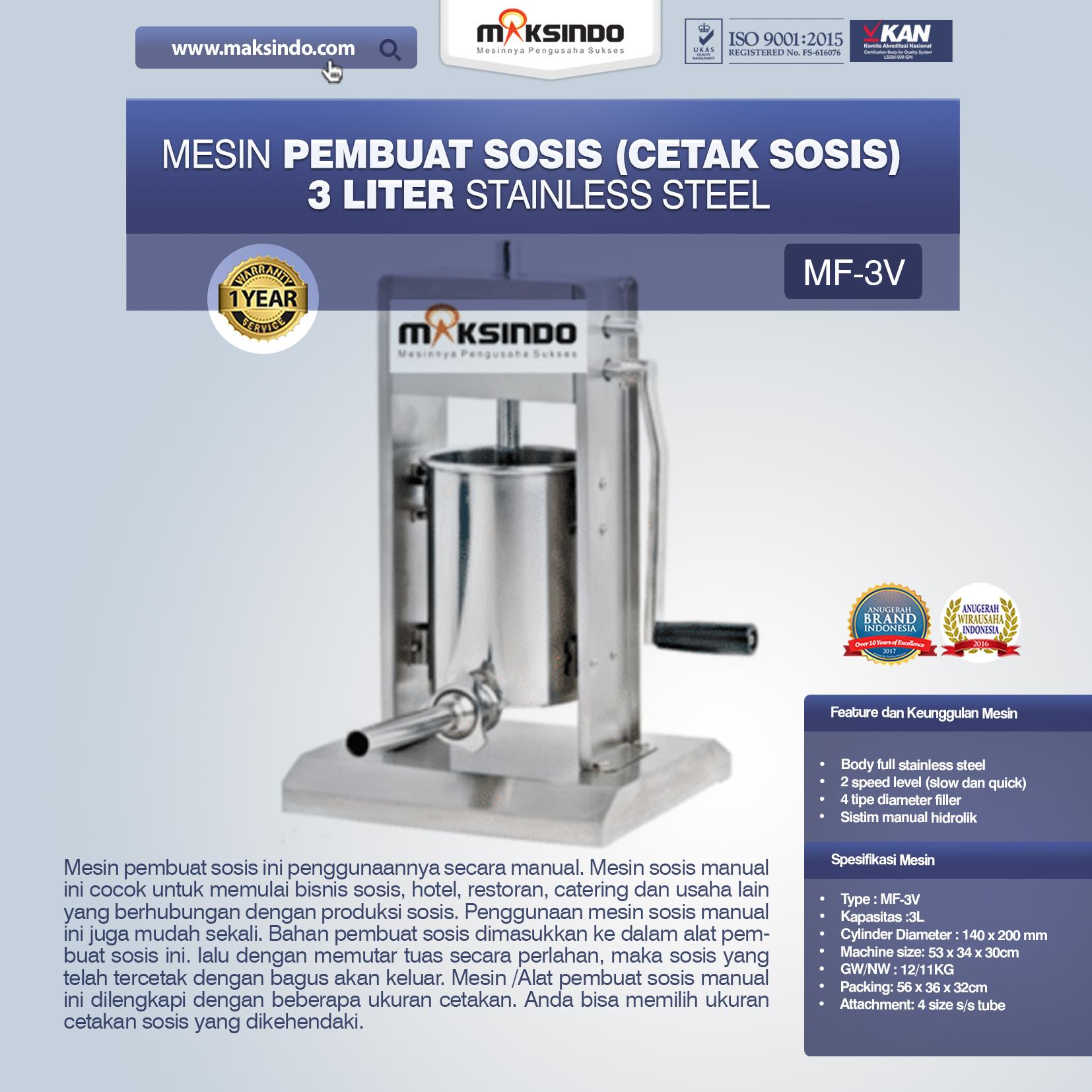 Mesin Pembuat Sosis (Cetak Sosis) Stainless Steel MF-3V