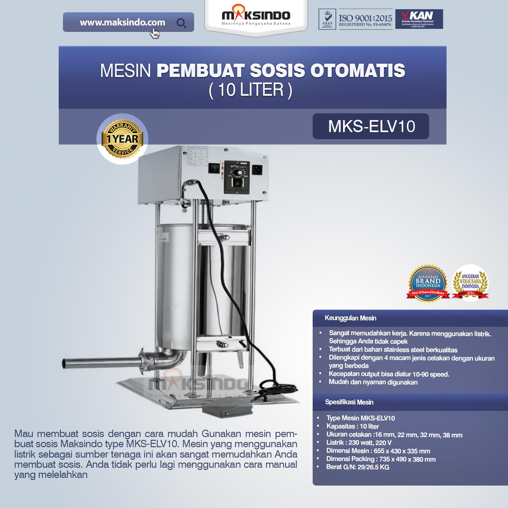 Jual Mesin Pembuat Sosis Otomatis (MKS-ELV10) di Tangerang
