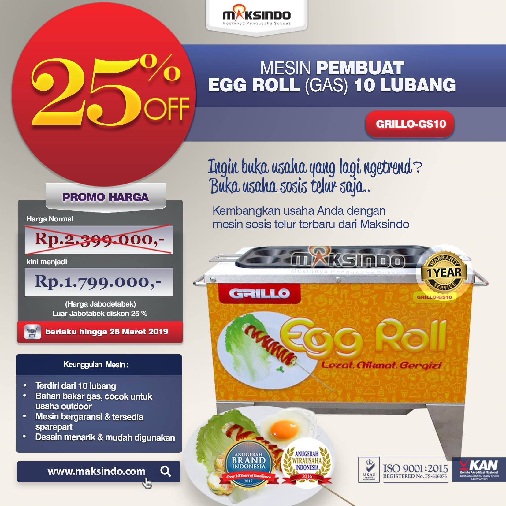 GRILLO-GS10 Mesin Pembuat EGG ROLL (GAS) 10 LUBANG