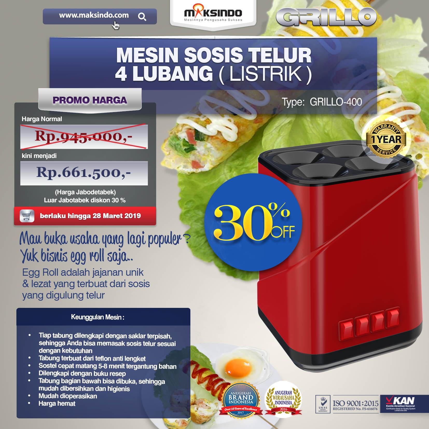 Grillo-400 MESIN SOSIS TELUR 4 LUBANG ( Egg Roll ) single