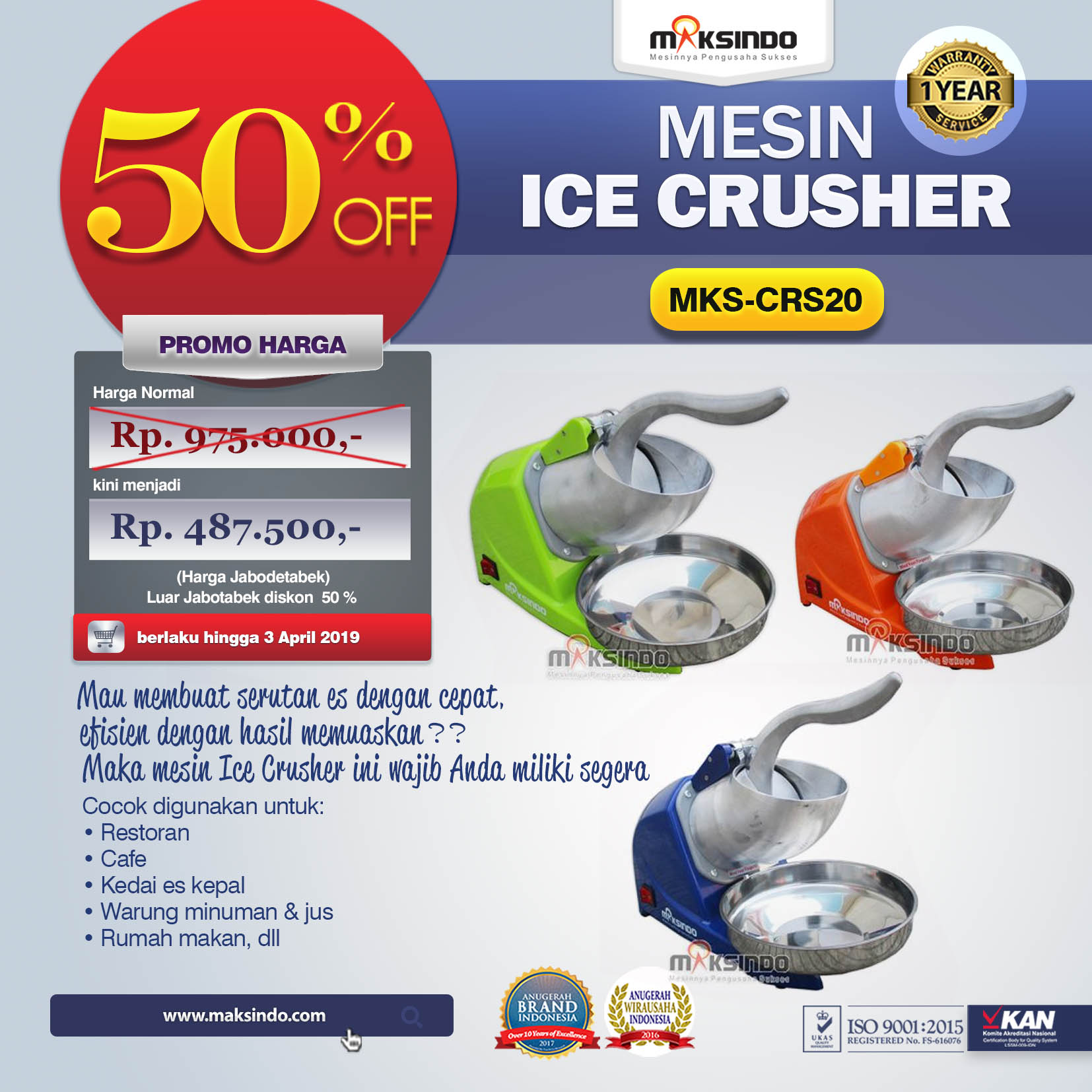 MKS-CRS20 Mesin Ice Crusher