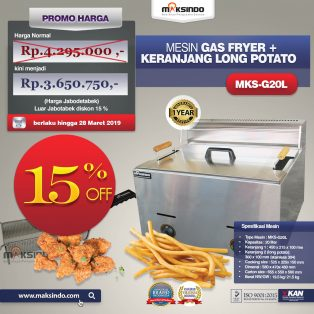 Jual Mesin Gas Fryer MKS-G20L + Keranjang di Tangerang