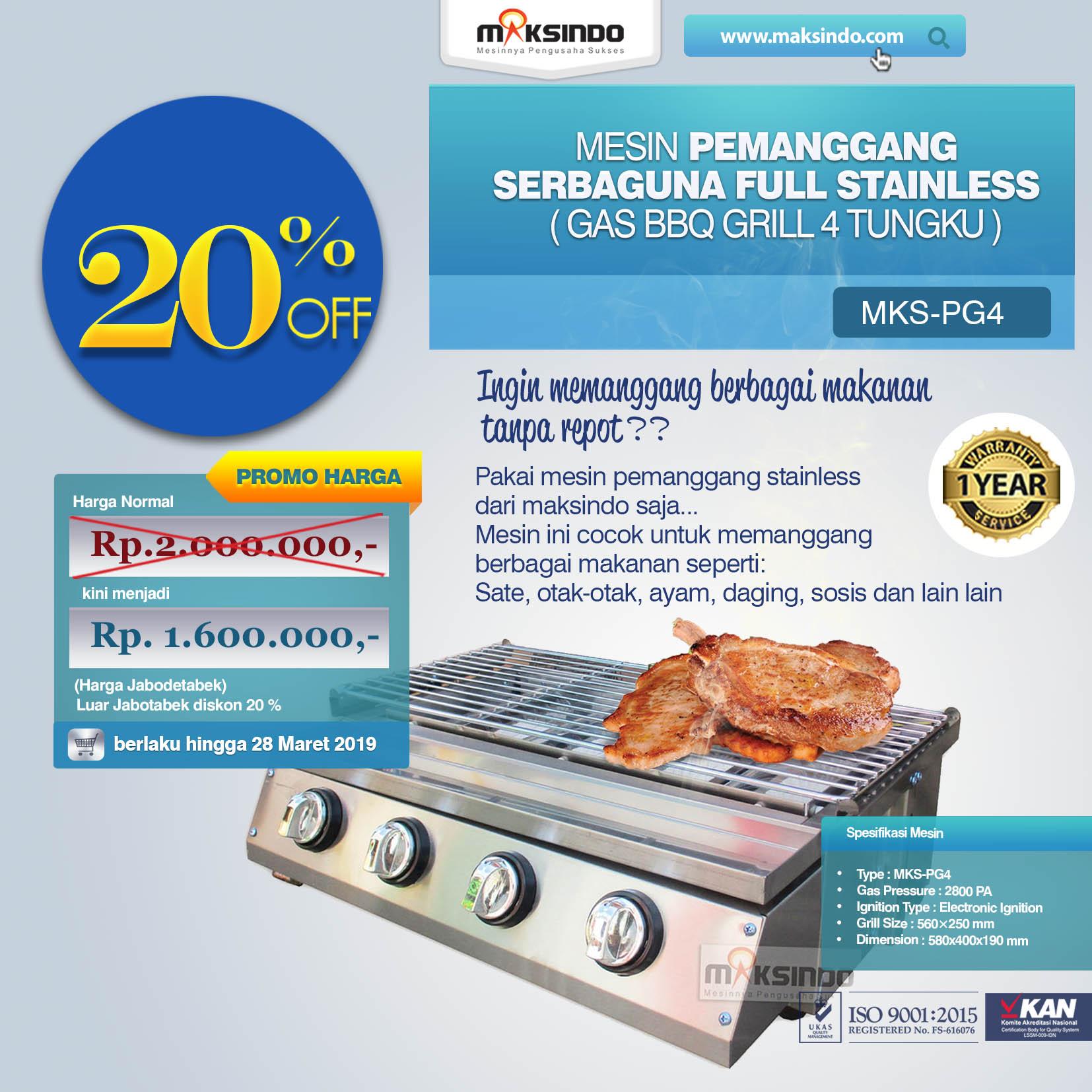 MKS-PG4 Pemanggang Serbaguna Gas BBQ Grill 4 Tungku
