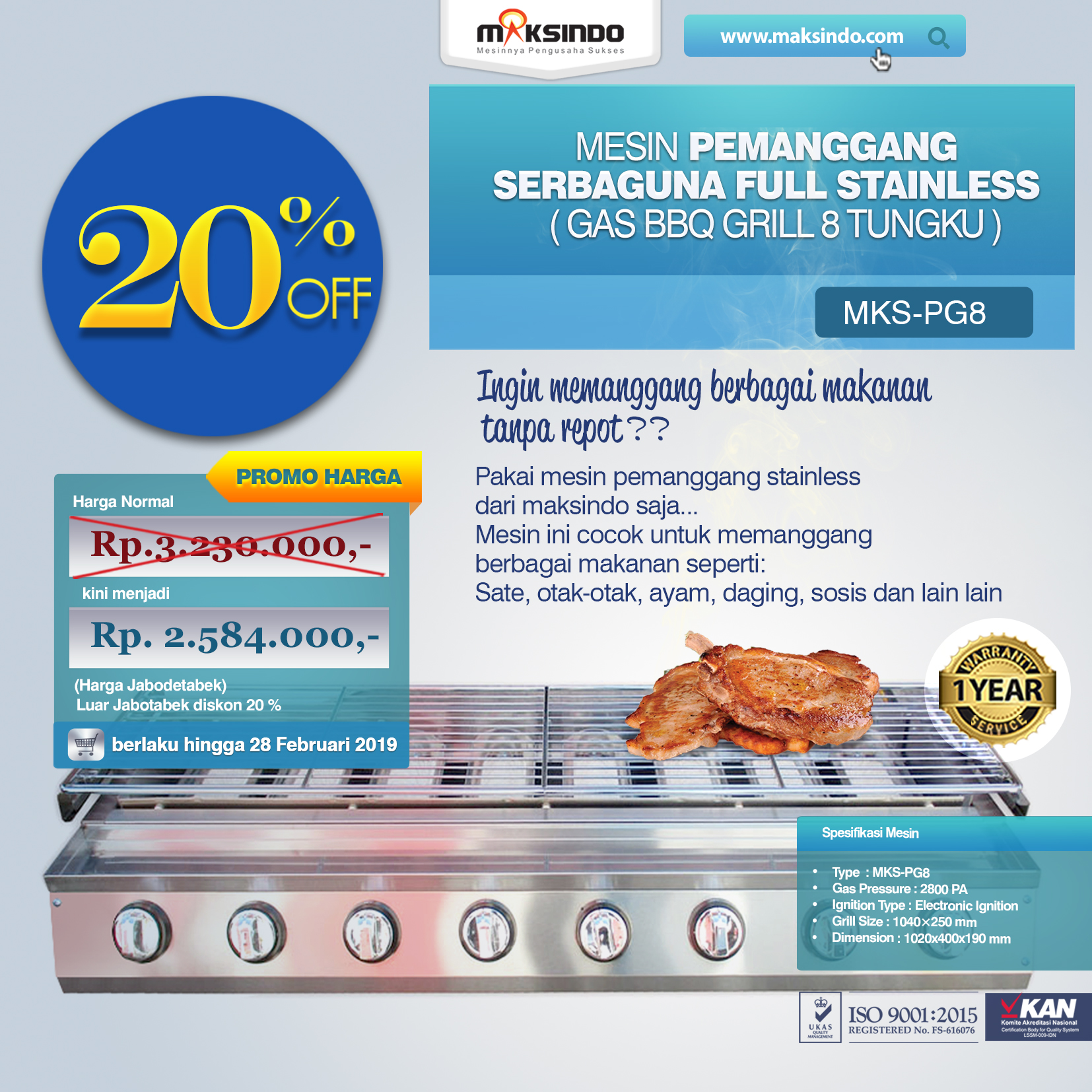 MKS-PG8 Pemanggang Serbaguna Gas BBQ Grill 8 Tungku