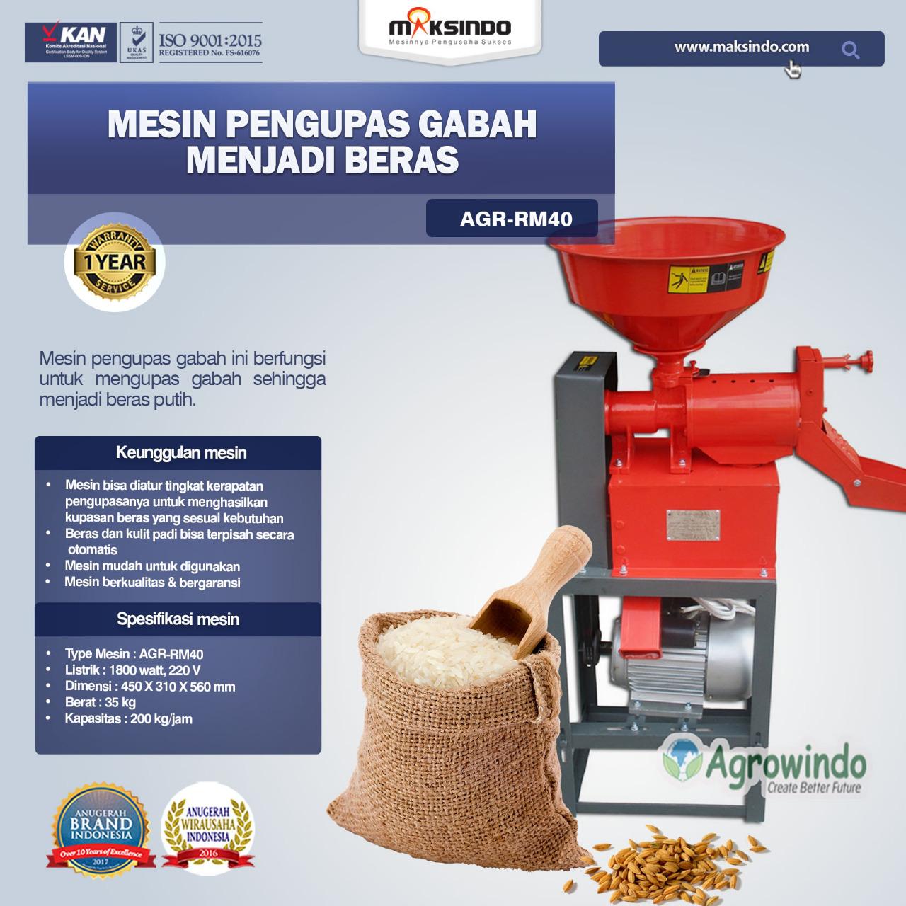 Jual Mesin Rice Huller Mini Pengupas Gabah – Beras AGR-RM40 di Tangerang