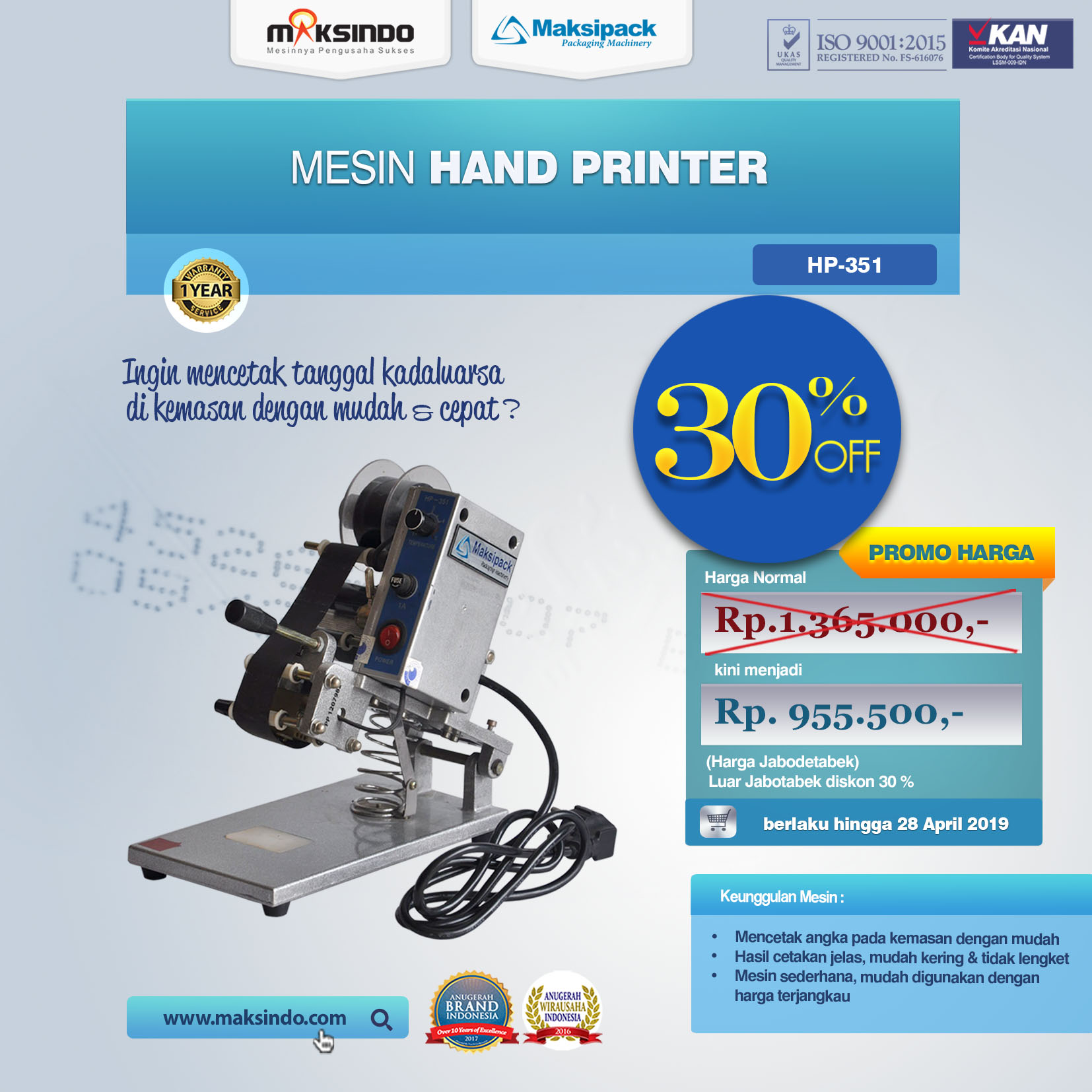 HP-351 Mesin Hand Printer
