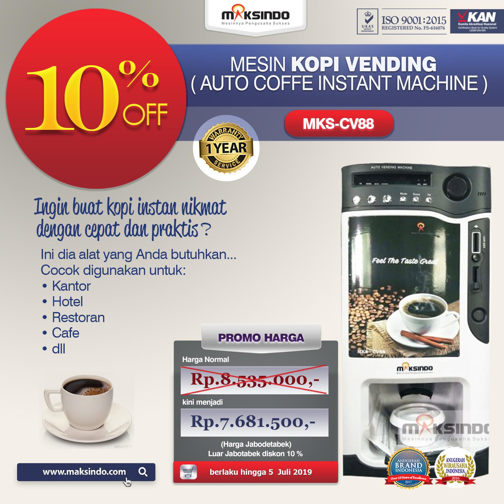 MKS CV88 Mesin Kopi Vending ( Auto coffe instant machine )