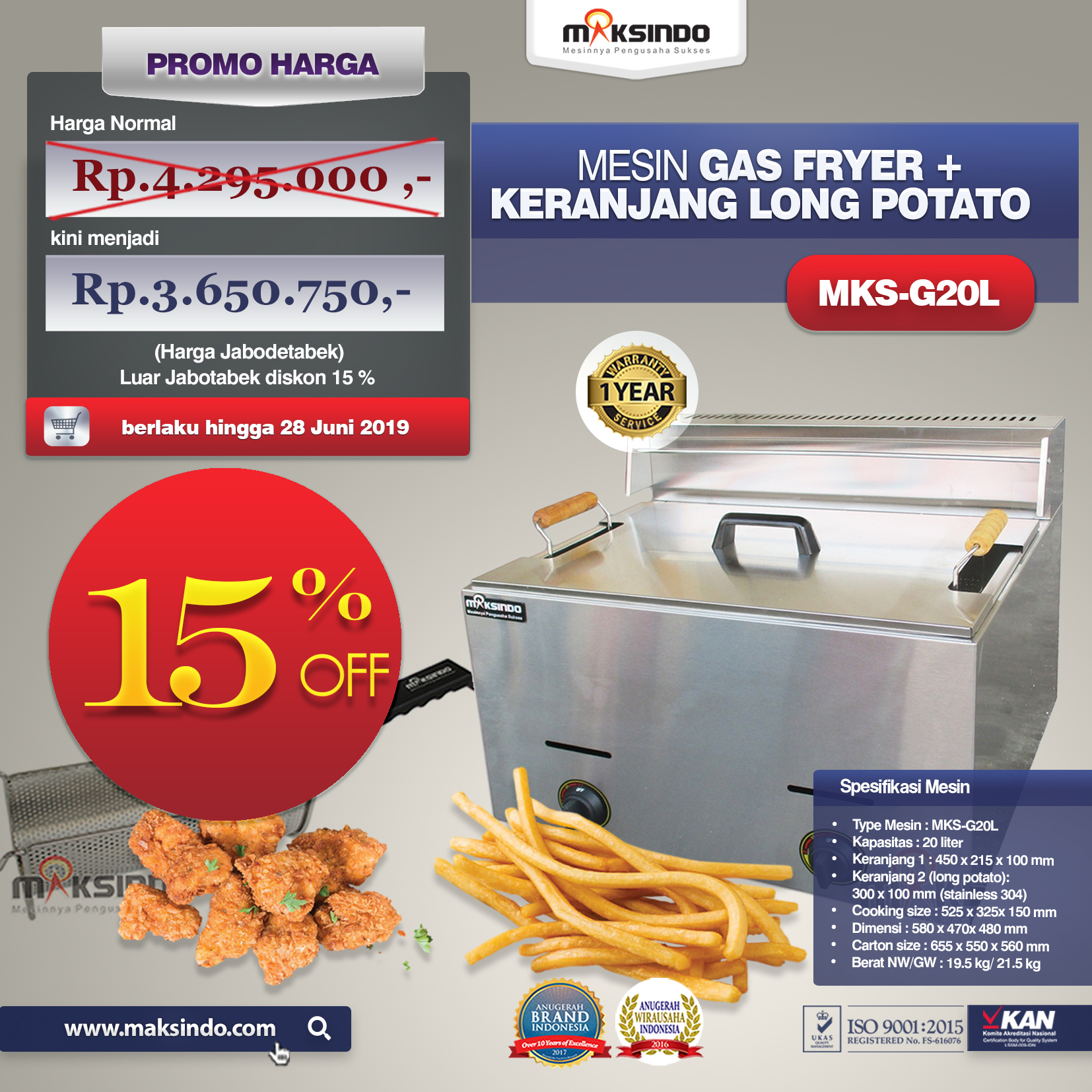 MKS-G20 L Mesin Gas Fryer +Keranjang Long Potato