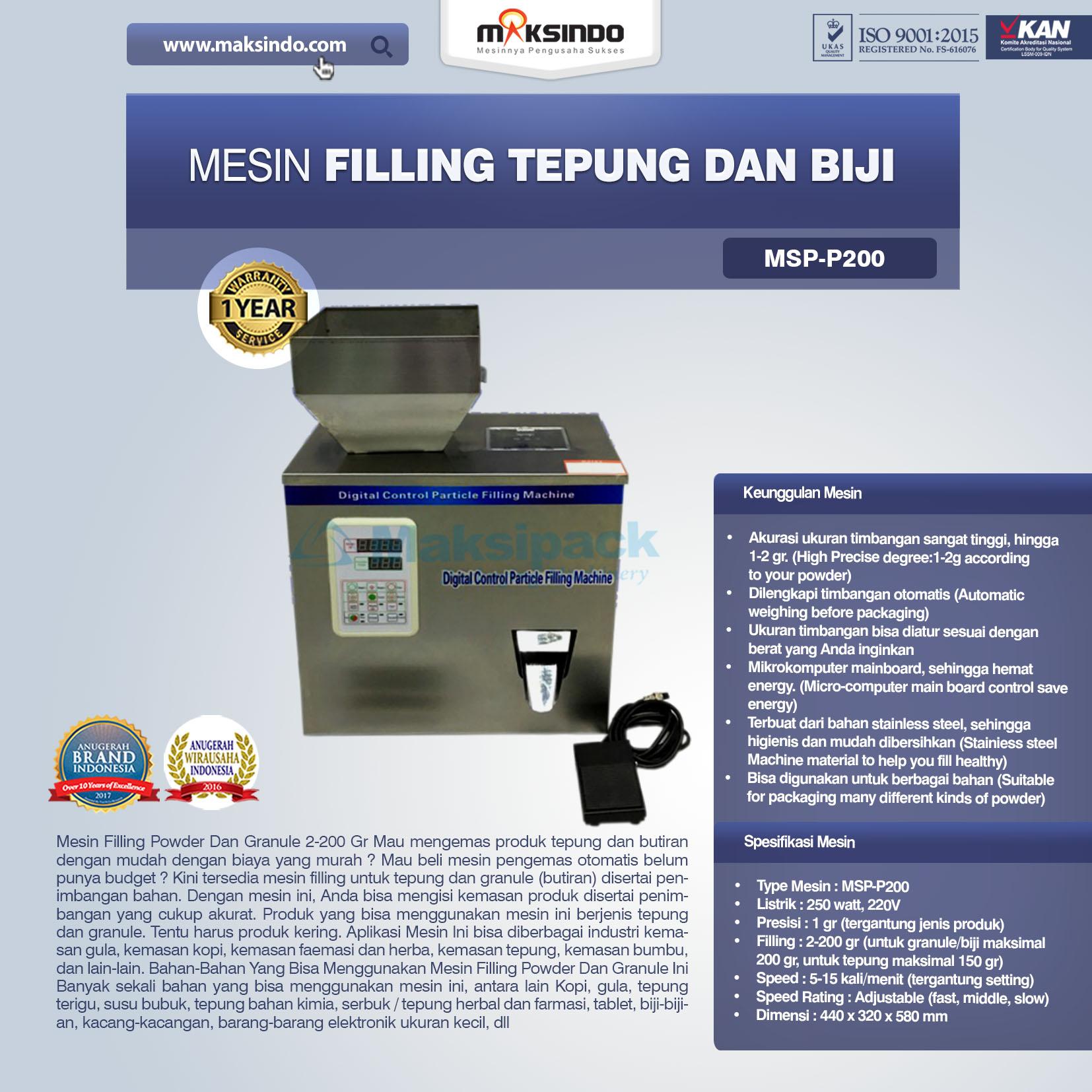 Mesin Filling Tepung Dan Biji MSP-P200