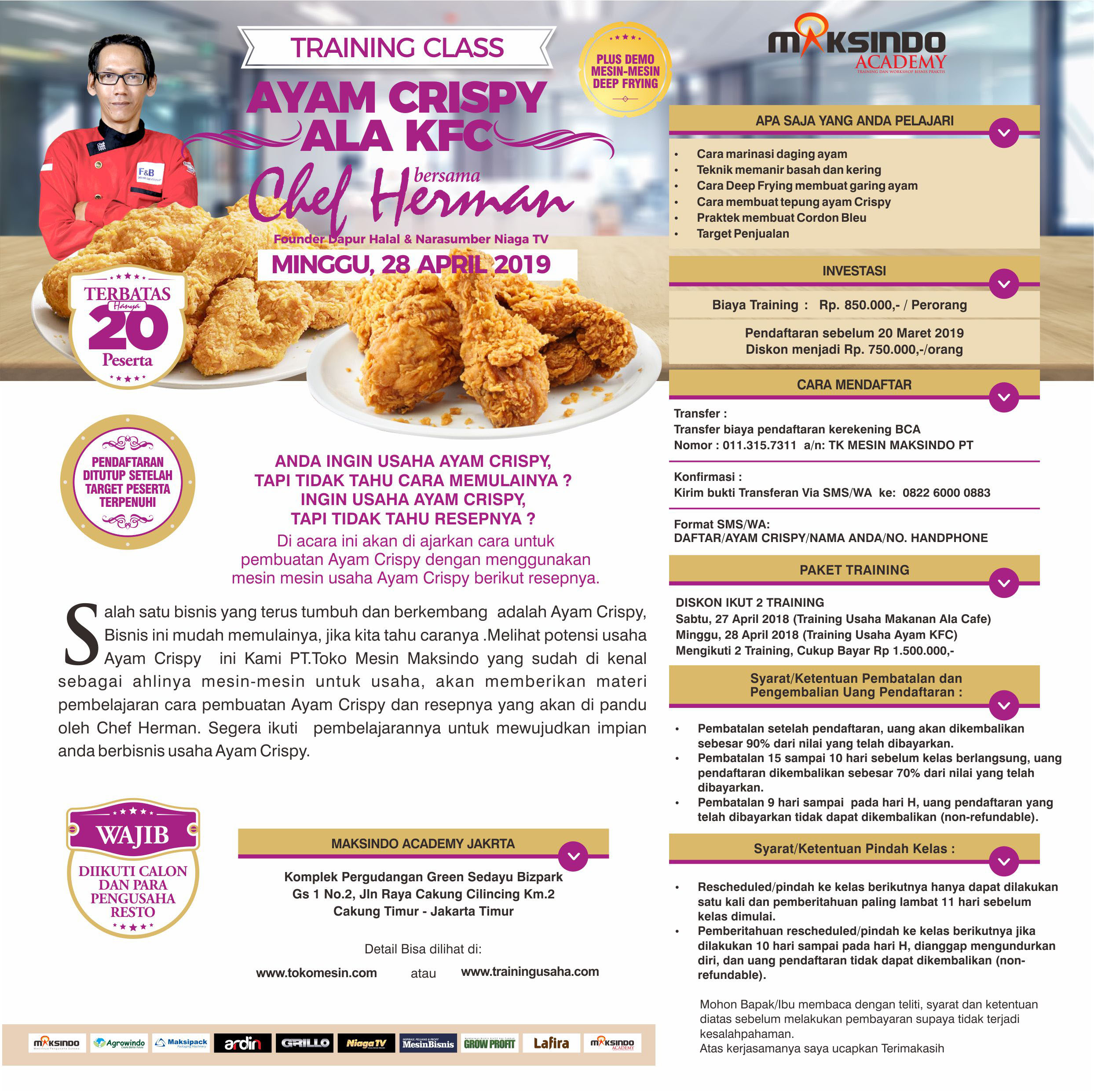 Brosur TRAINING CLASS AYAM CRISPY ALA KFC Minggu, 28 April 2019