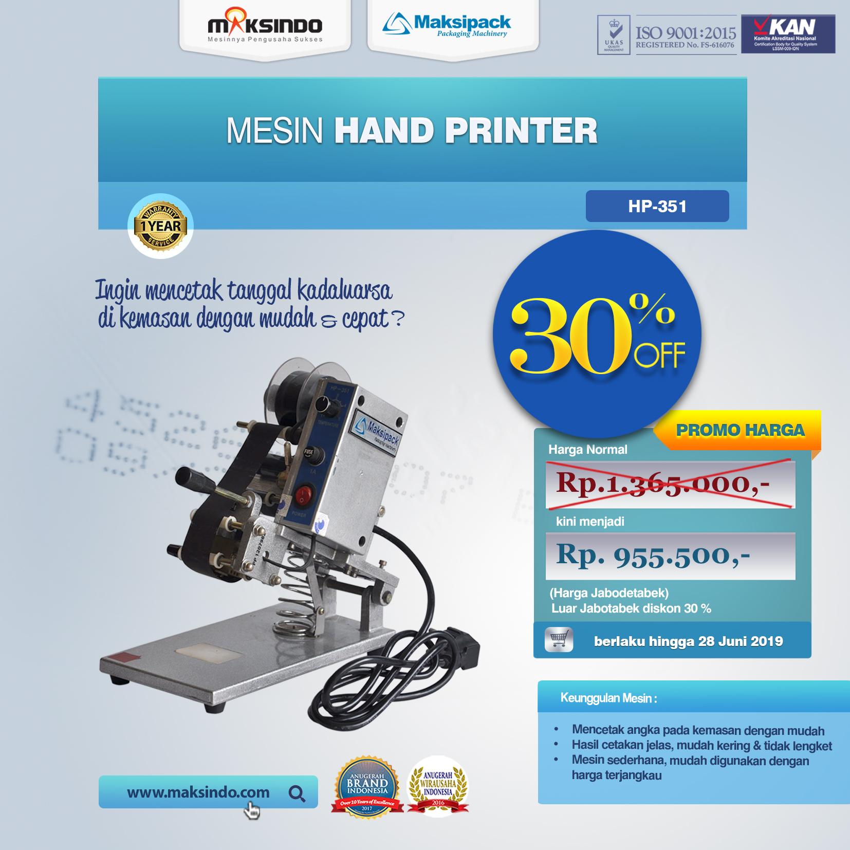 HP-351 Mesin Hand Printer