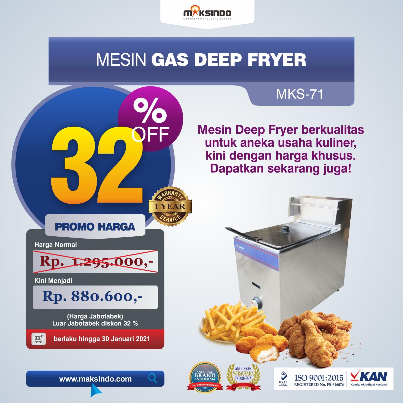 Jual Mesin Gas Deep Fryer MKS-71 di Tangerang