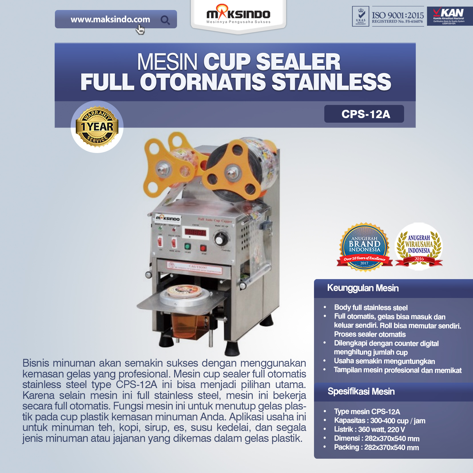 Mesin Cup Sealer Full Otornatis Stainless CPS-12A