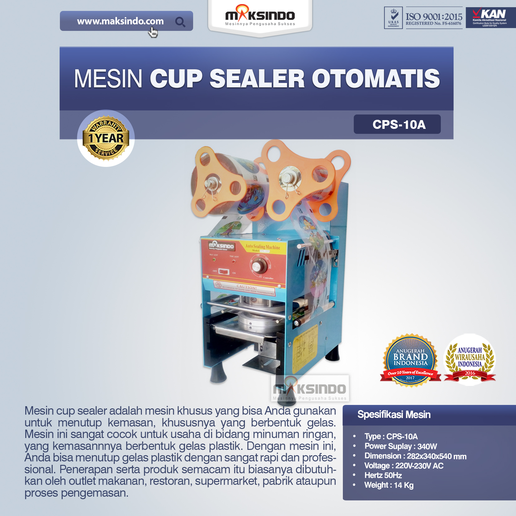 Jual Mesin Cup Sealer Otomatis (CPS-10A) di Tangerang