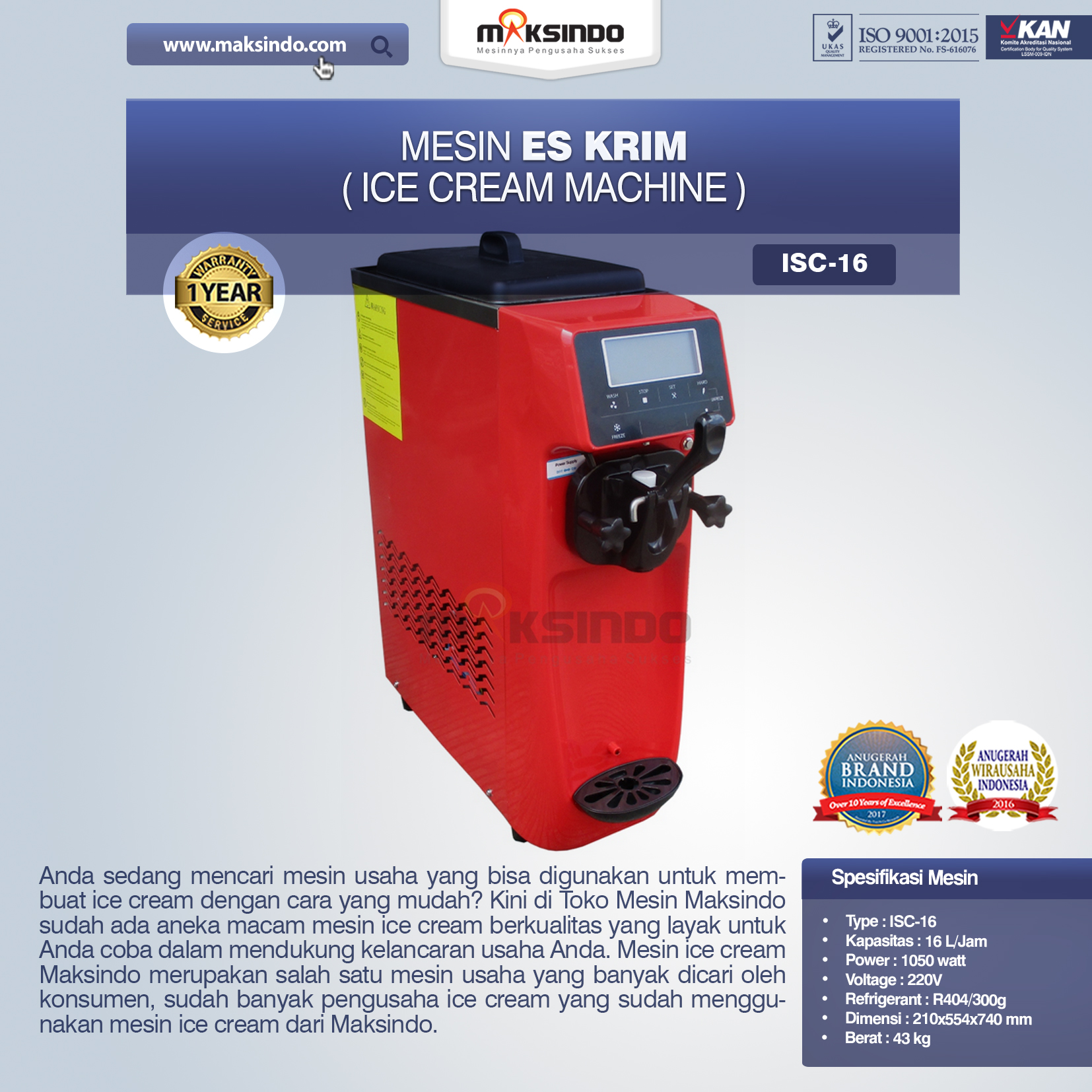 Mesin Es Krim Ice Cream Machine ISC-16