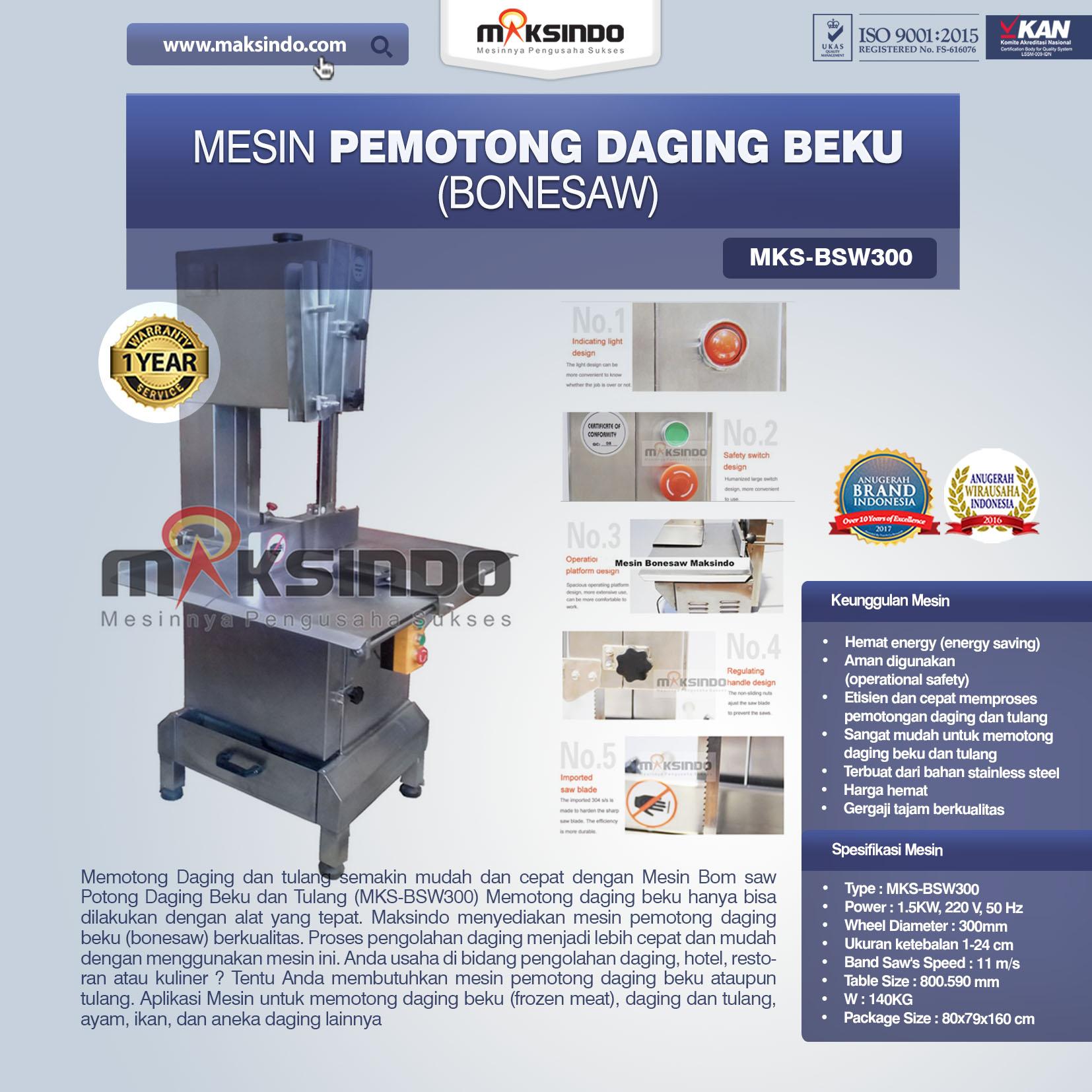 Jual Mesin Mesin Bonesaw Potong Daging Beku dan Tulang (MKS-BSW300) di Tangerang