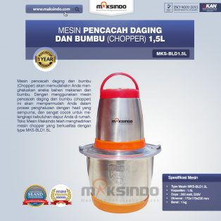 Jual Mesin Pencacah Daging Dan Bumbu (Chopper) MKS-BLD1.5L di Tangerang