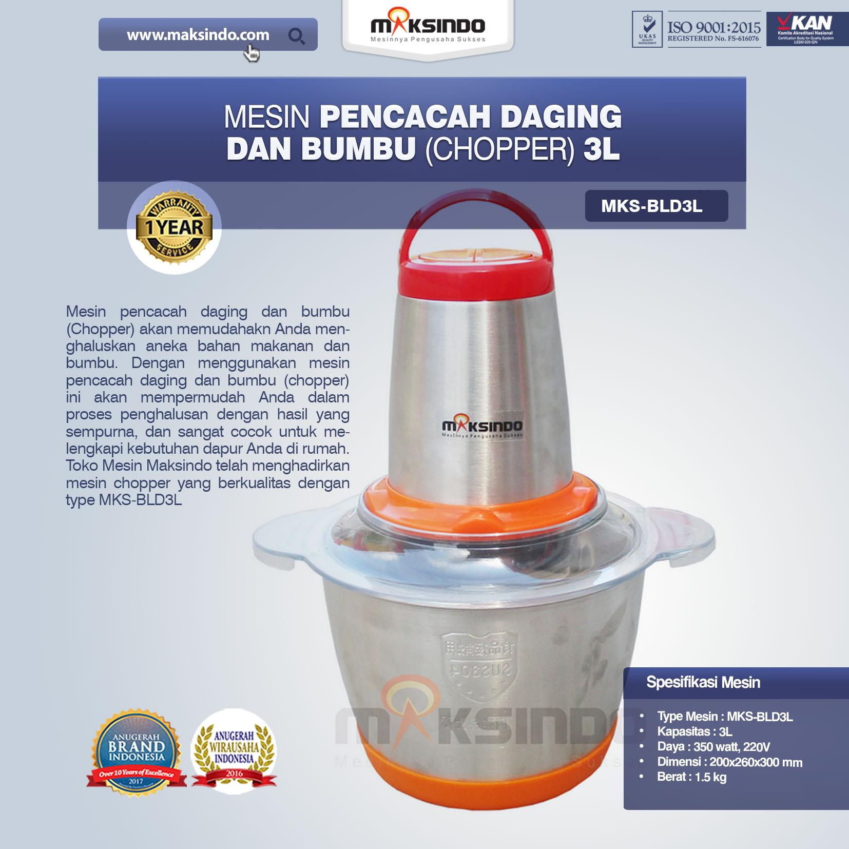 Jual Mesin Pencacah Daging dan Bumbu MKS-BLD3L di Tangerang