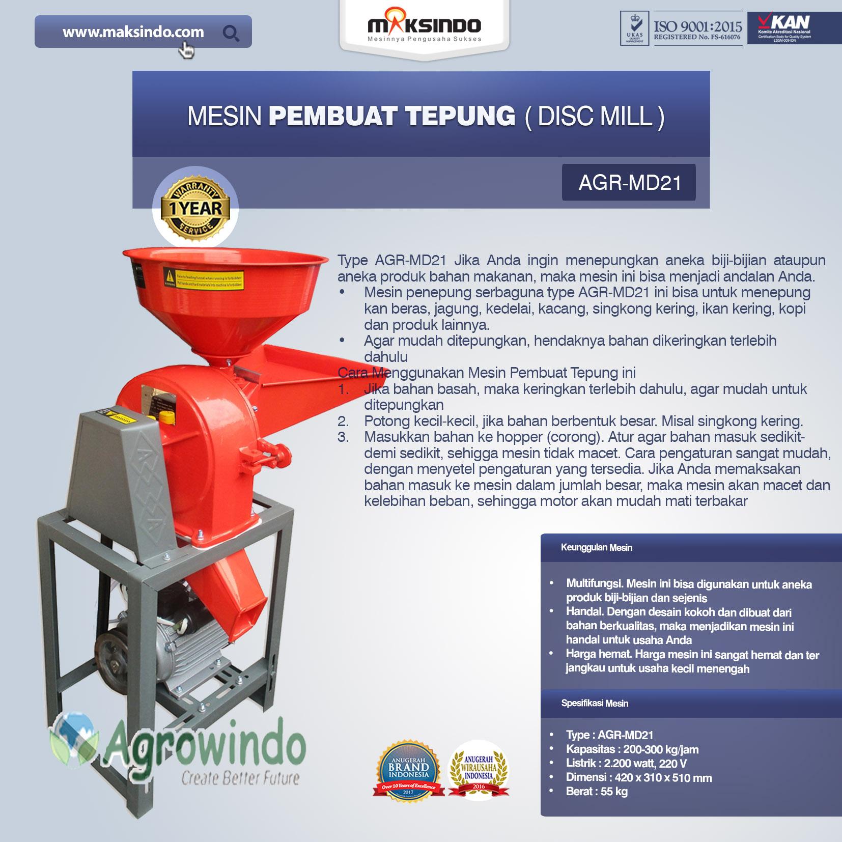 Mesin Penepung Disk Mill AGR-MD21