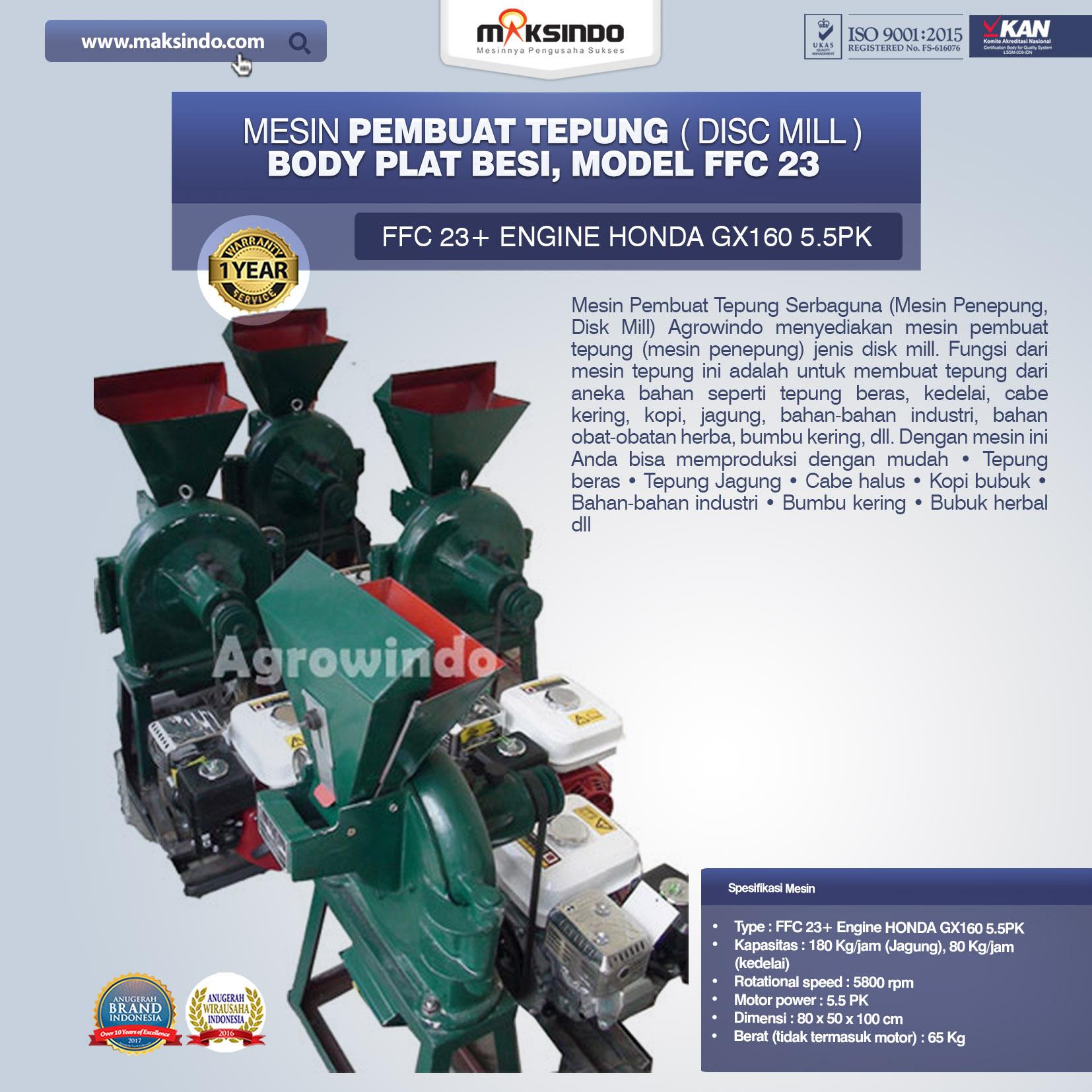 Mesin Penepung Disk Mill Body Plat Besi Mesin Penepung Model FFC 23
