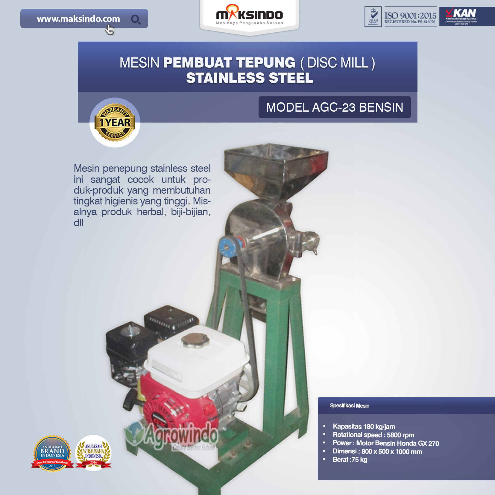 Mesin Penepung Disk Mill Body Stainless Model AGC 23