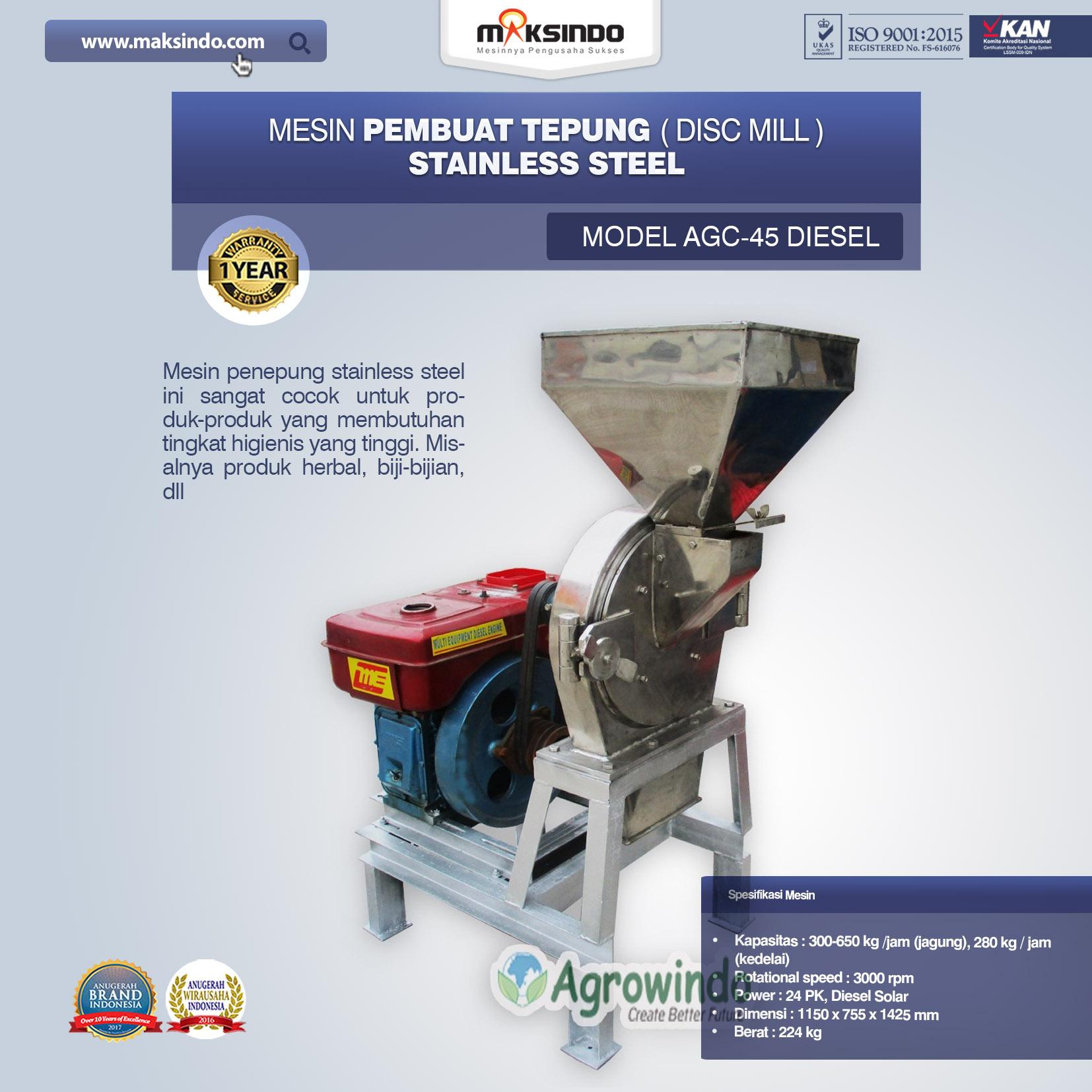 Mesin Penepung Disk Mill Body Stainless Model AGC 45