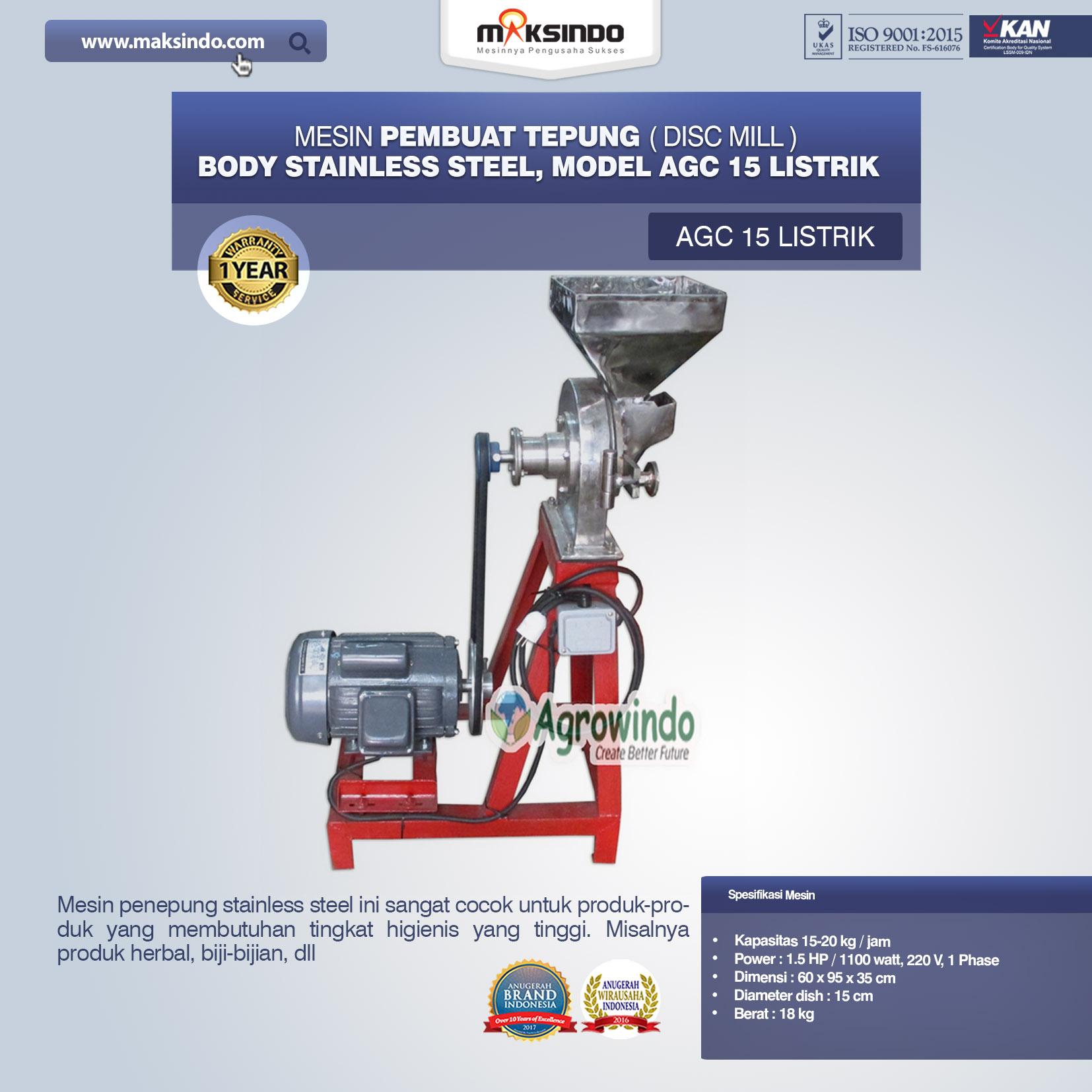 Mesin Penepung Disk Mill Body Stainless Steel AGC 15 Listrik