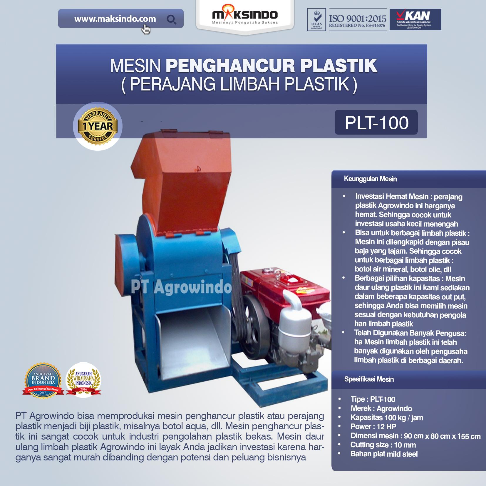 mesin penghancur plastik PLT-100