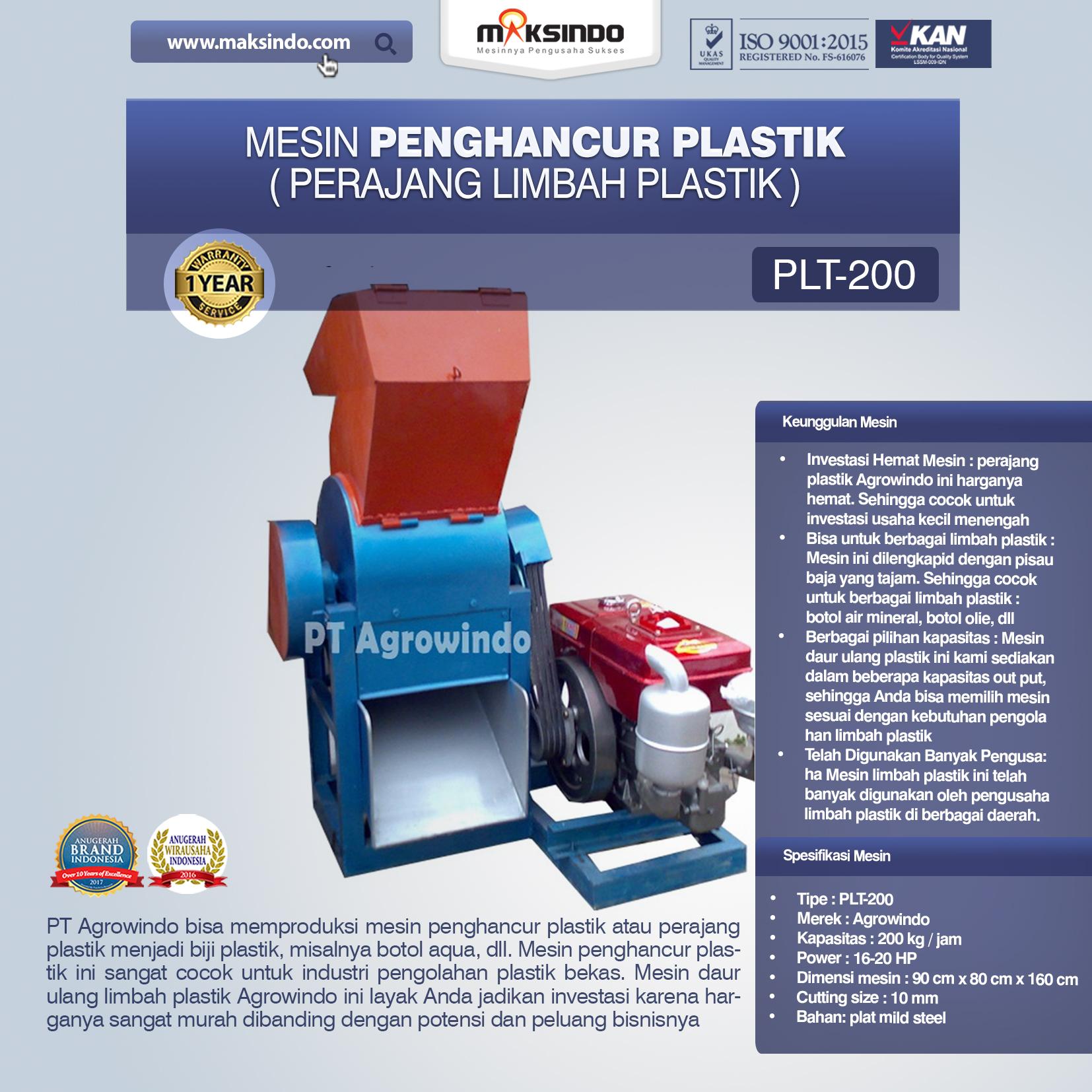 mesin penghancur plastik PLT-200