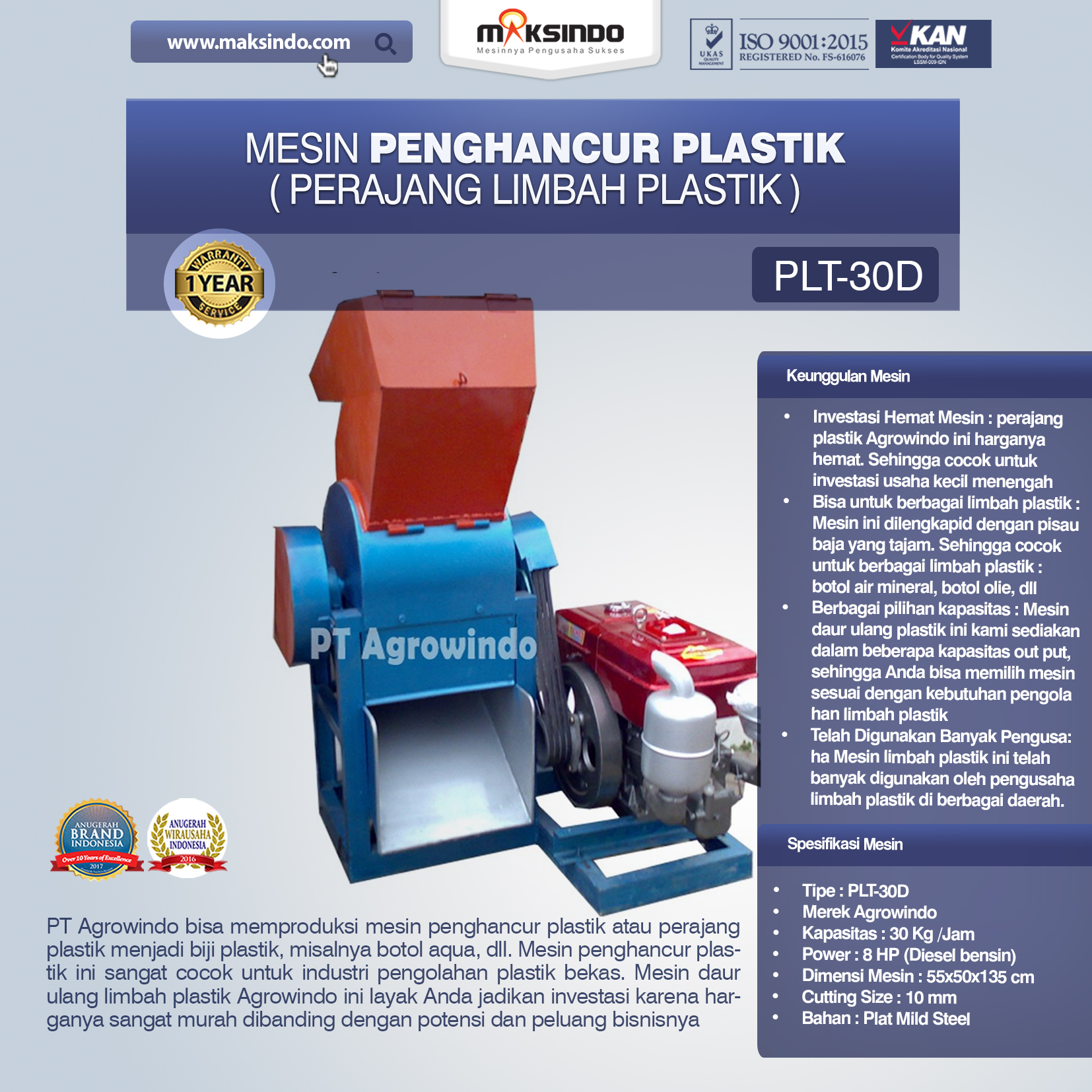 mesin penghancur plastik PLT-30D