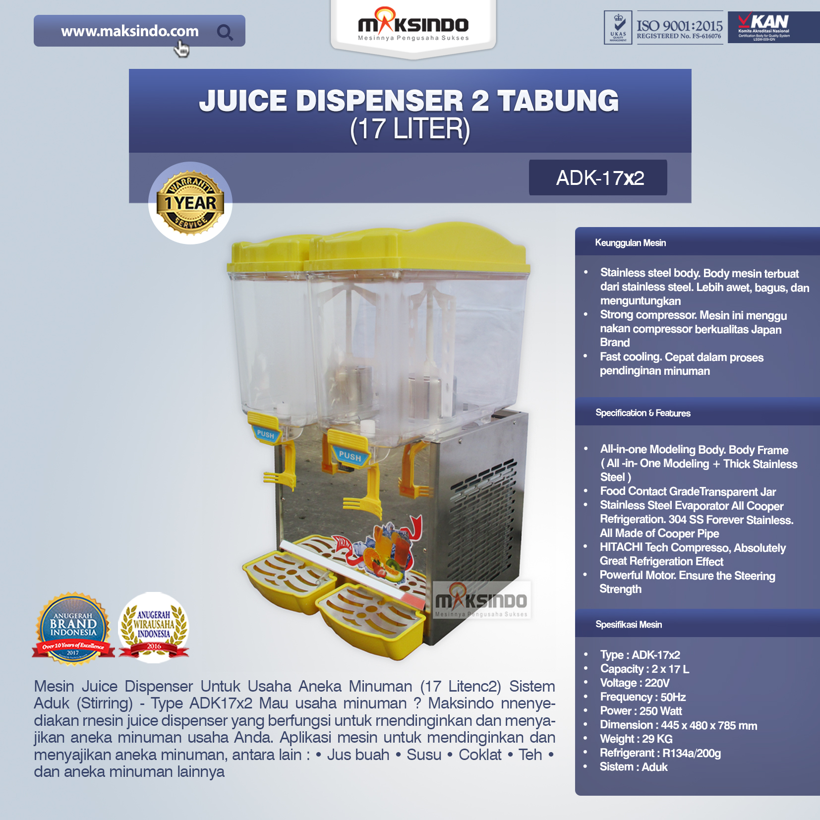 Juice Dispenser 2 Tabung 17 Liter - ADK17x2