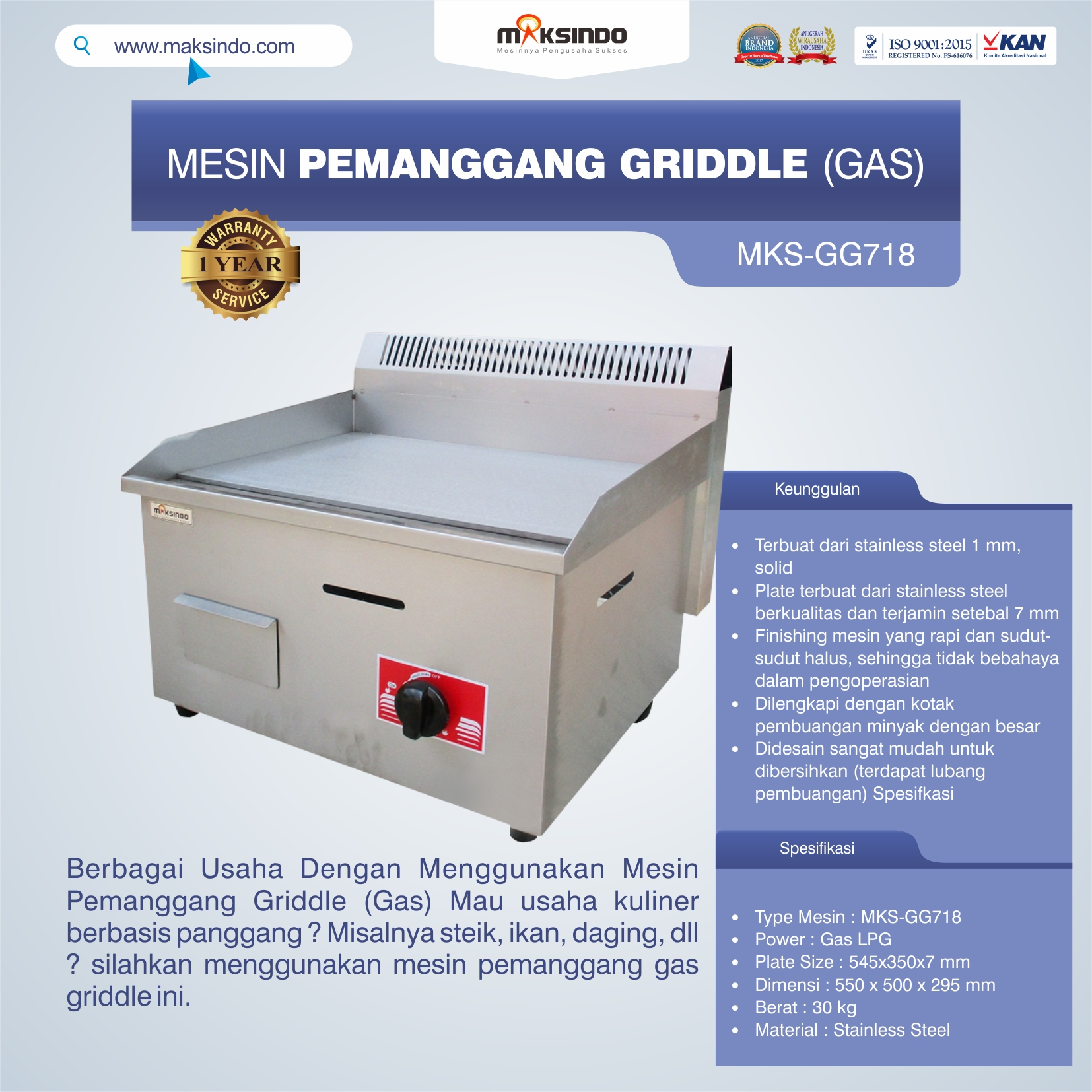 MKS-GG718 Mesin Pemanggang Griddle (GAS)