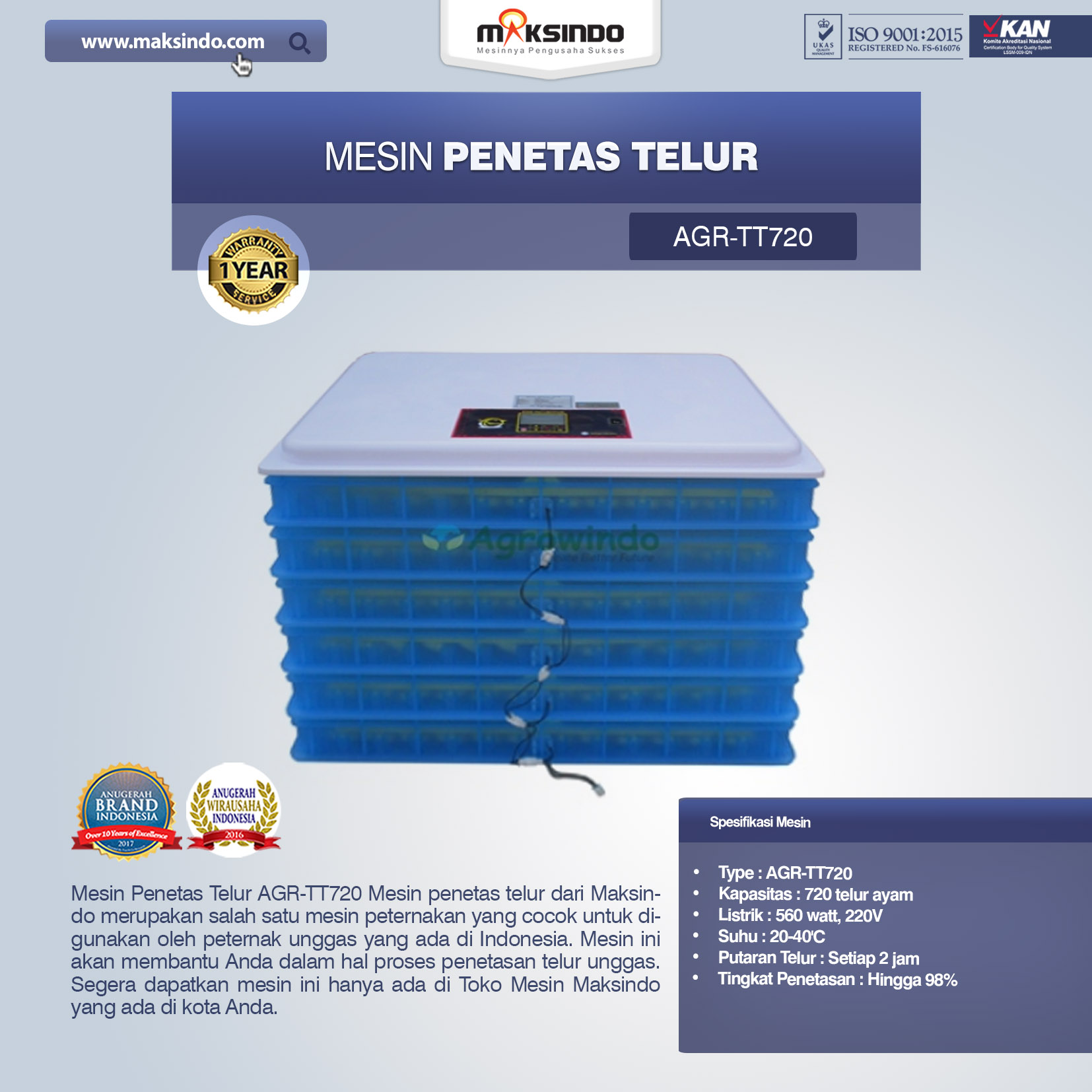 Jual Mesin Penetas Telur AGR-TT720 di Tangerang
