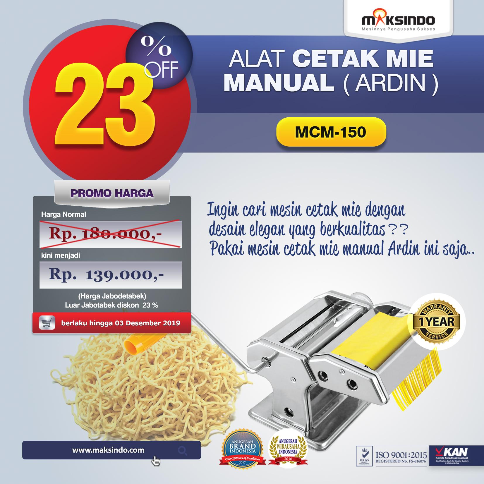 MCM-150 Alat Cetak Mie Manual Ardin