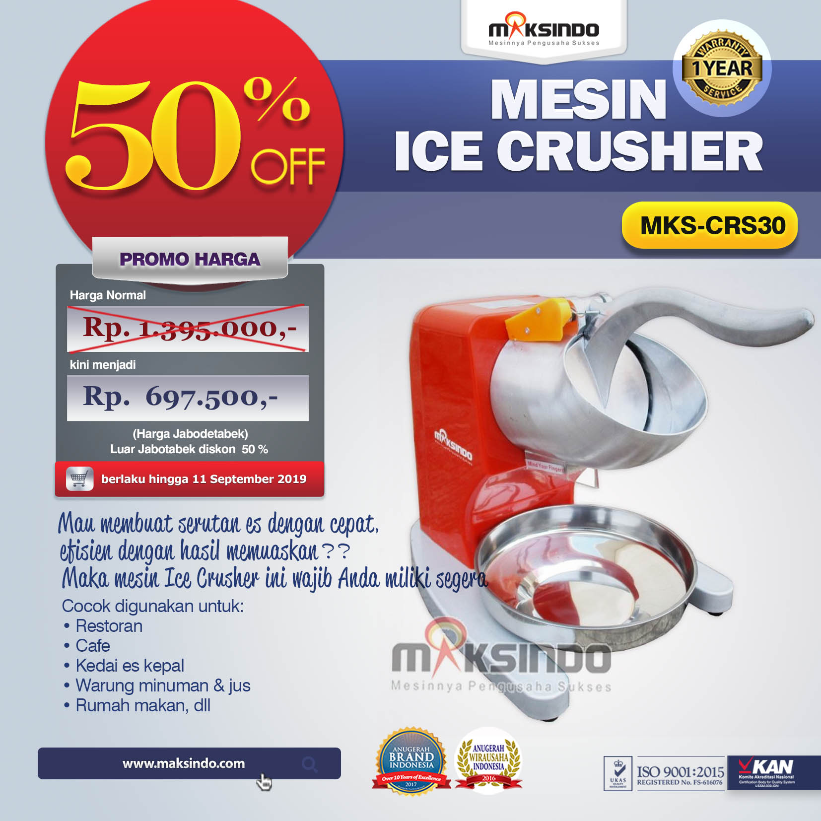 MKS-CRS30 Mesin Ice Crusher