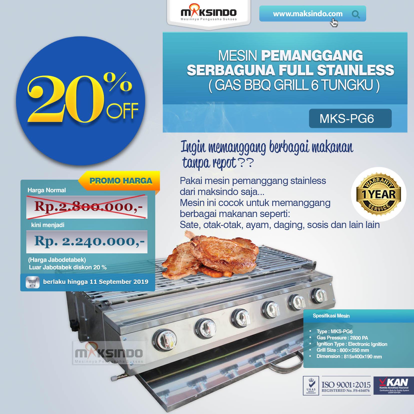 MKS-PG6 Pemanggang Serbaguna Gas BBQ Grill 6 Tungku