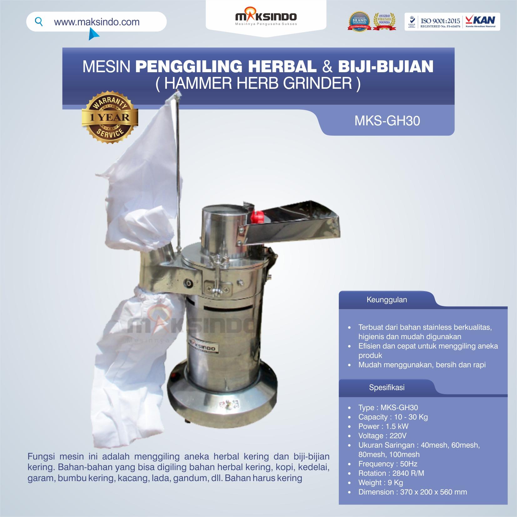 Jual Penggiling Herbal dan Biji-Bijian (GH-30) di Tangerang