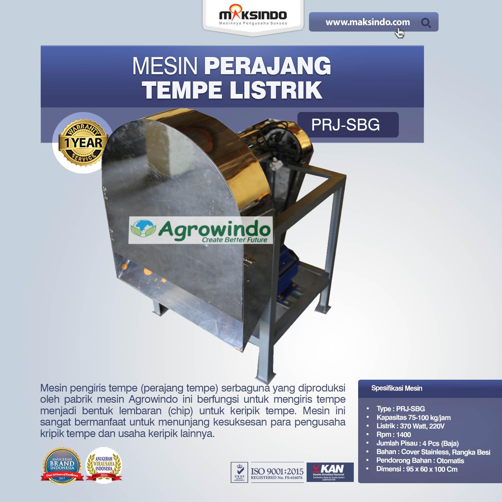Jual Mesin Perajang Tempe Listrik PRJ-SBG di Tangerang