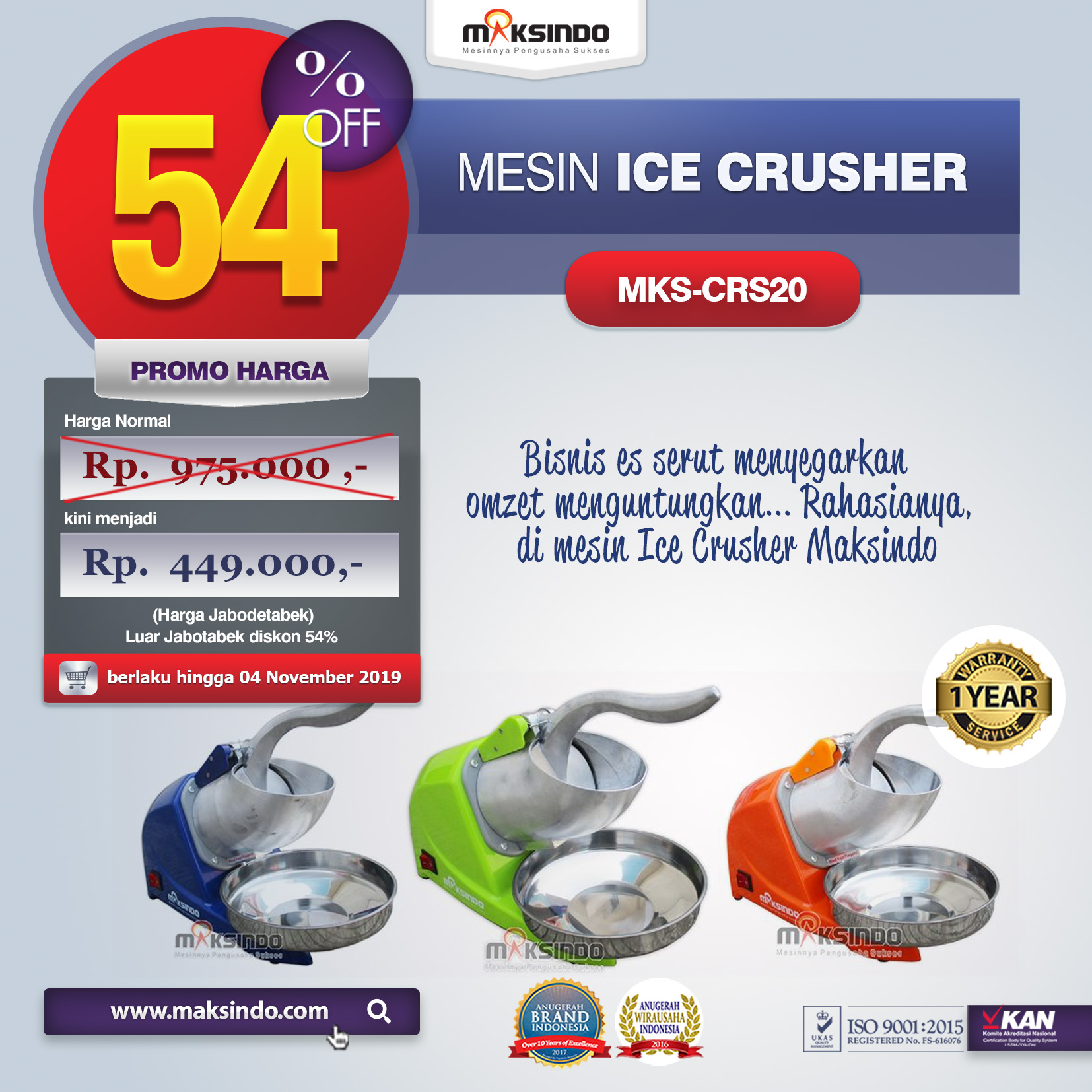MKS CRS20 mesin ice crusher
