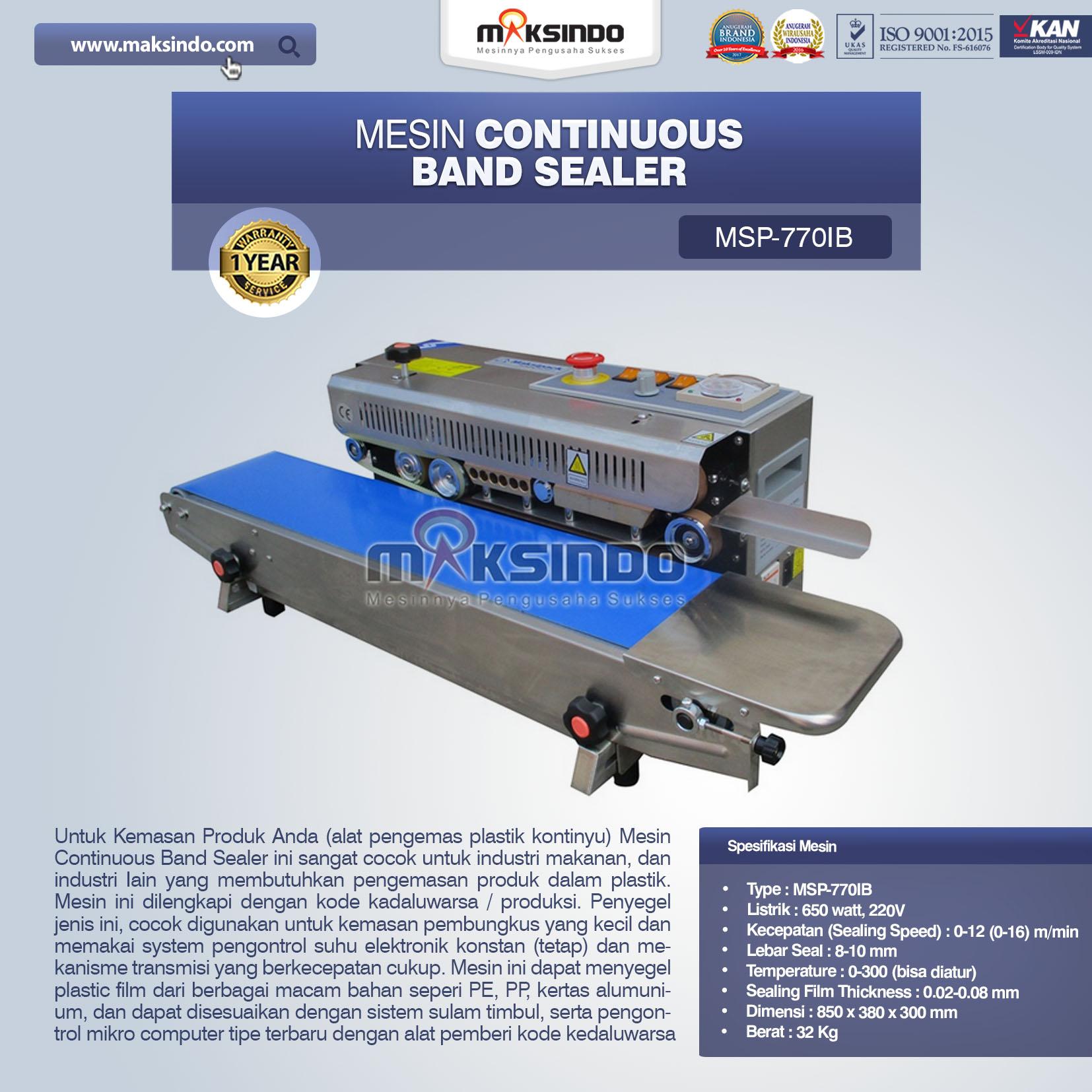 Mesin Continuous Band Sealer MSP-7701B
