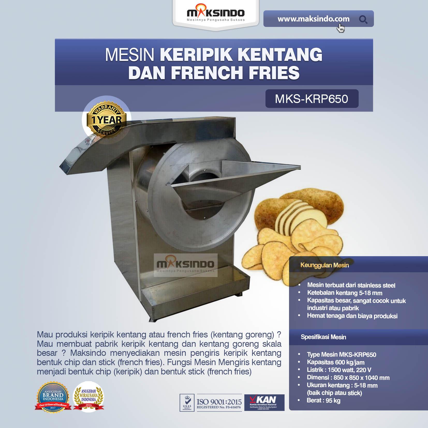 Mesin Keripik Kentang Dan French Fries MKS-KRP650