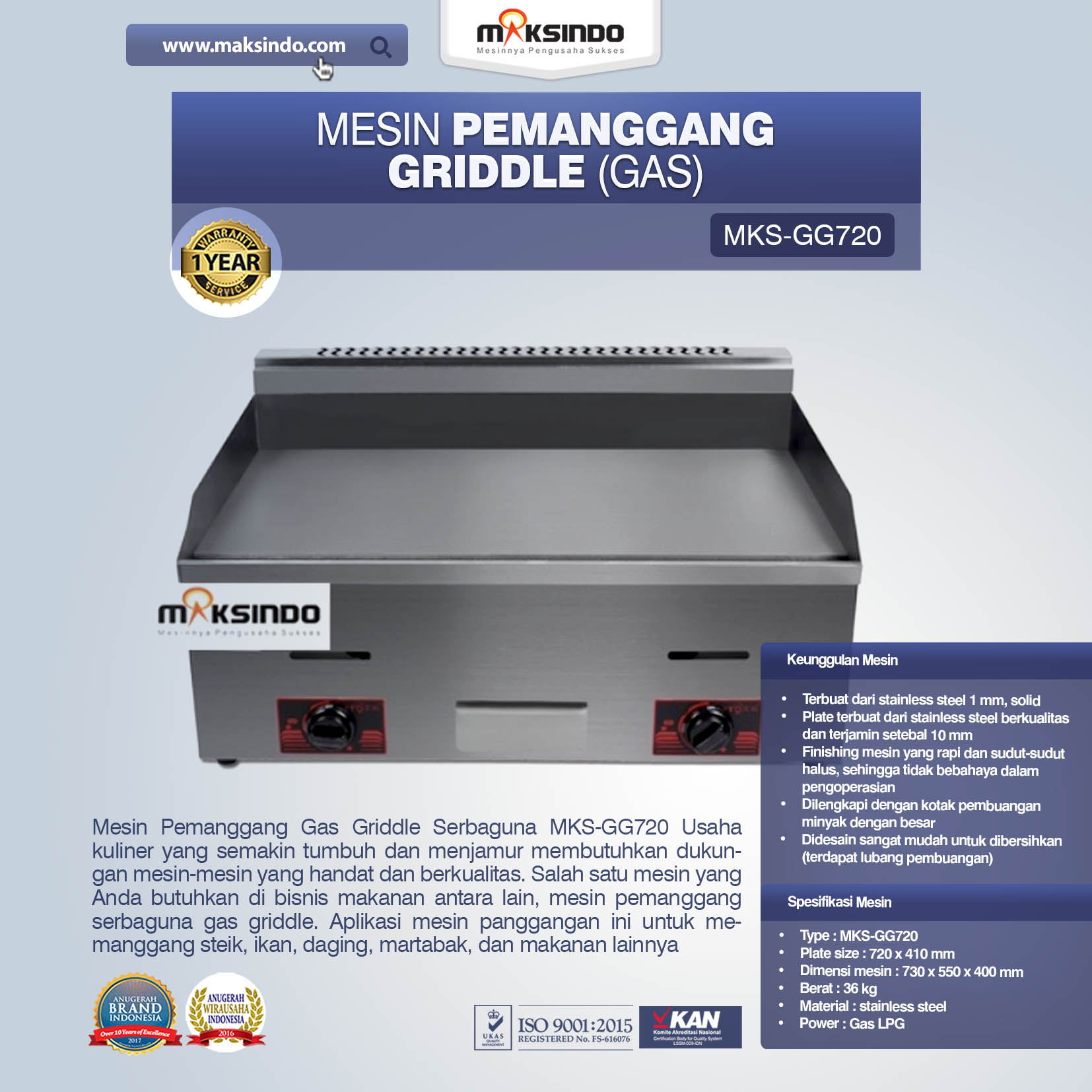 Mesin Pemanggang Griddle Gas MKS-GG720