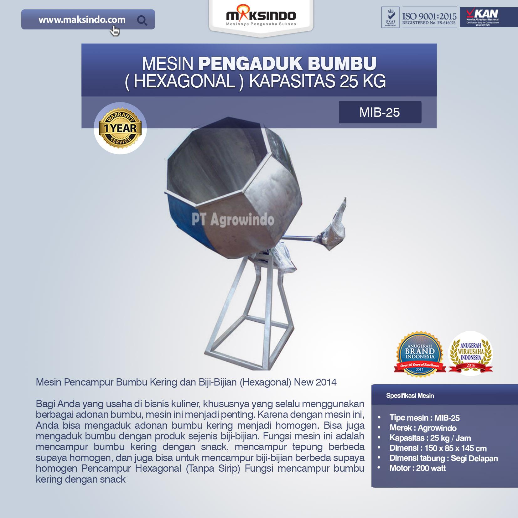 Mesin Pengaduk Bumbu Hexagonal Kapasitas 25 kg