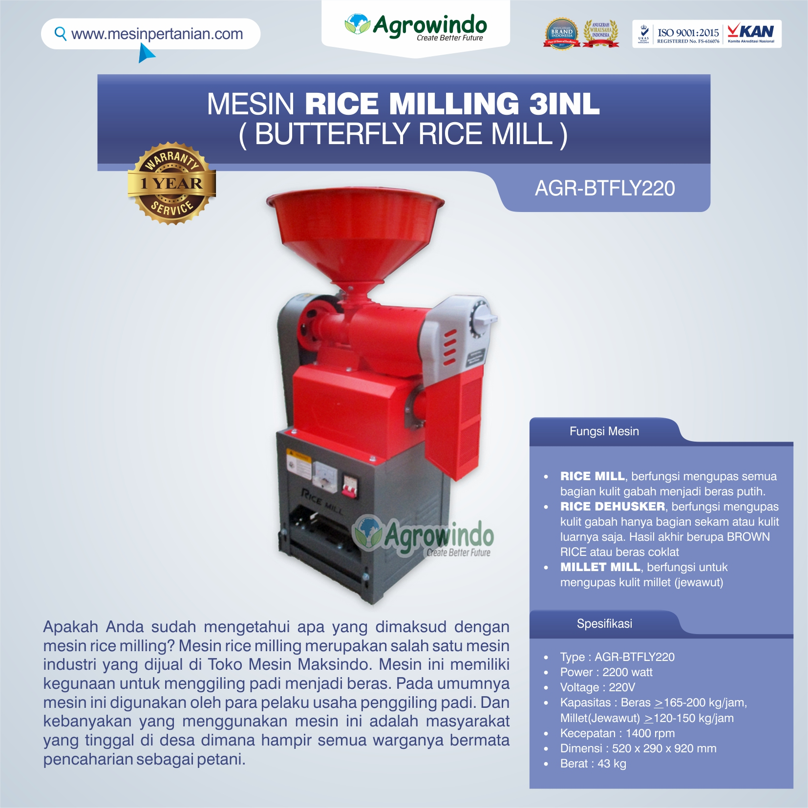Jual Mesin Rice Milling 3in1 (Butterfly Rice Mill) AGR-BTFLY220 di Tangerang