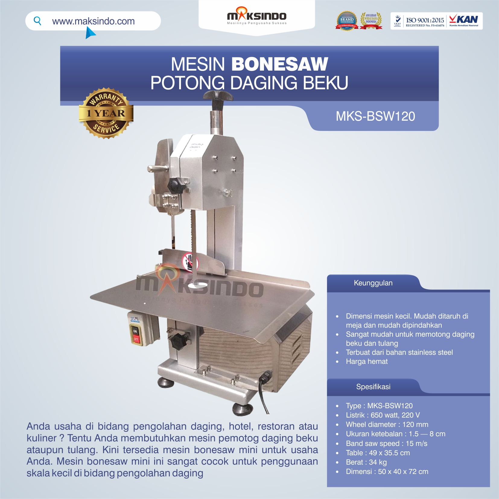 Jual Bonesaw Pemotong Daging Beku (MKS-BSW120) di Tangerang
