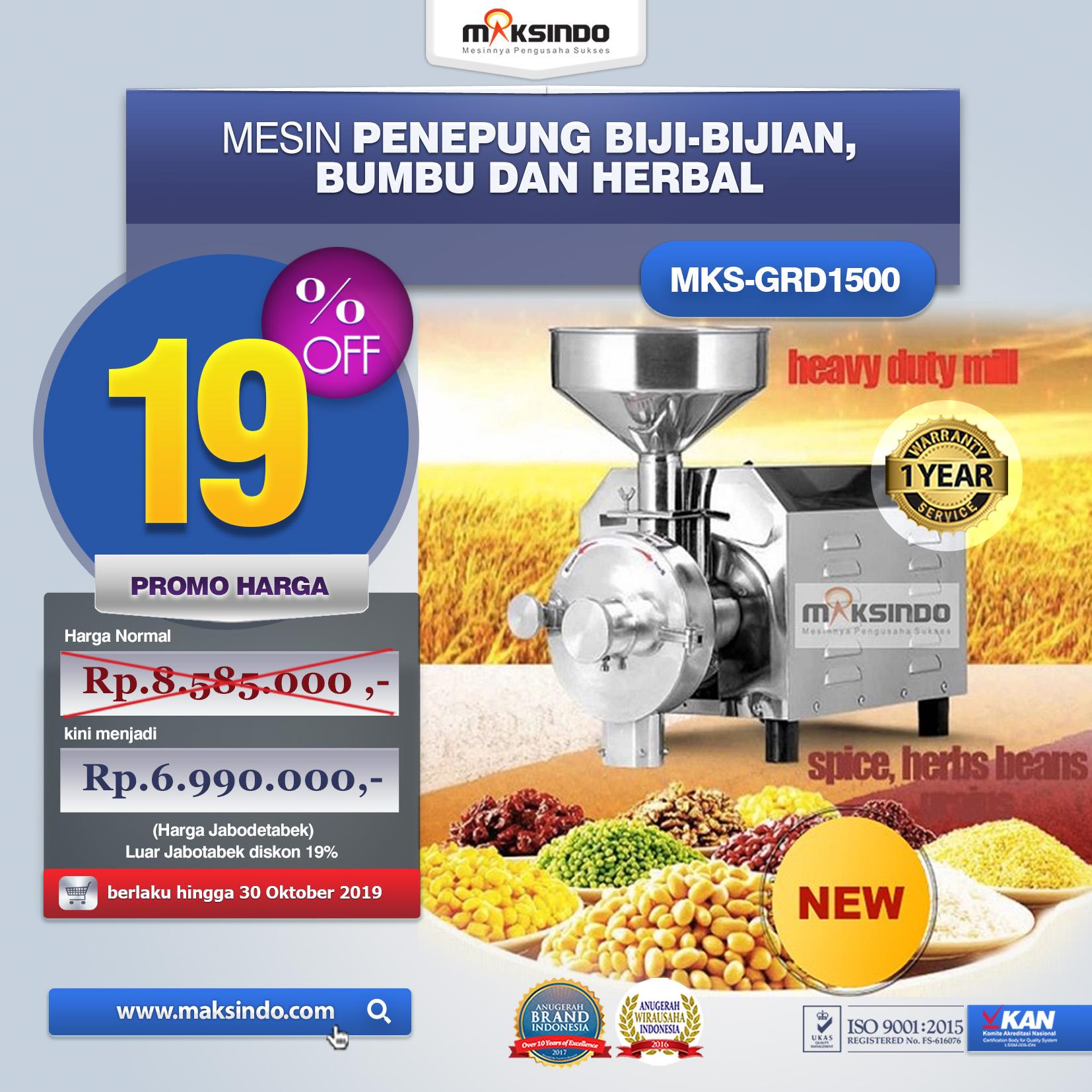 MKS GRD1500 Mesin Penepung Biji bumbu dan herbal